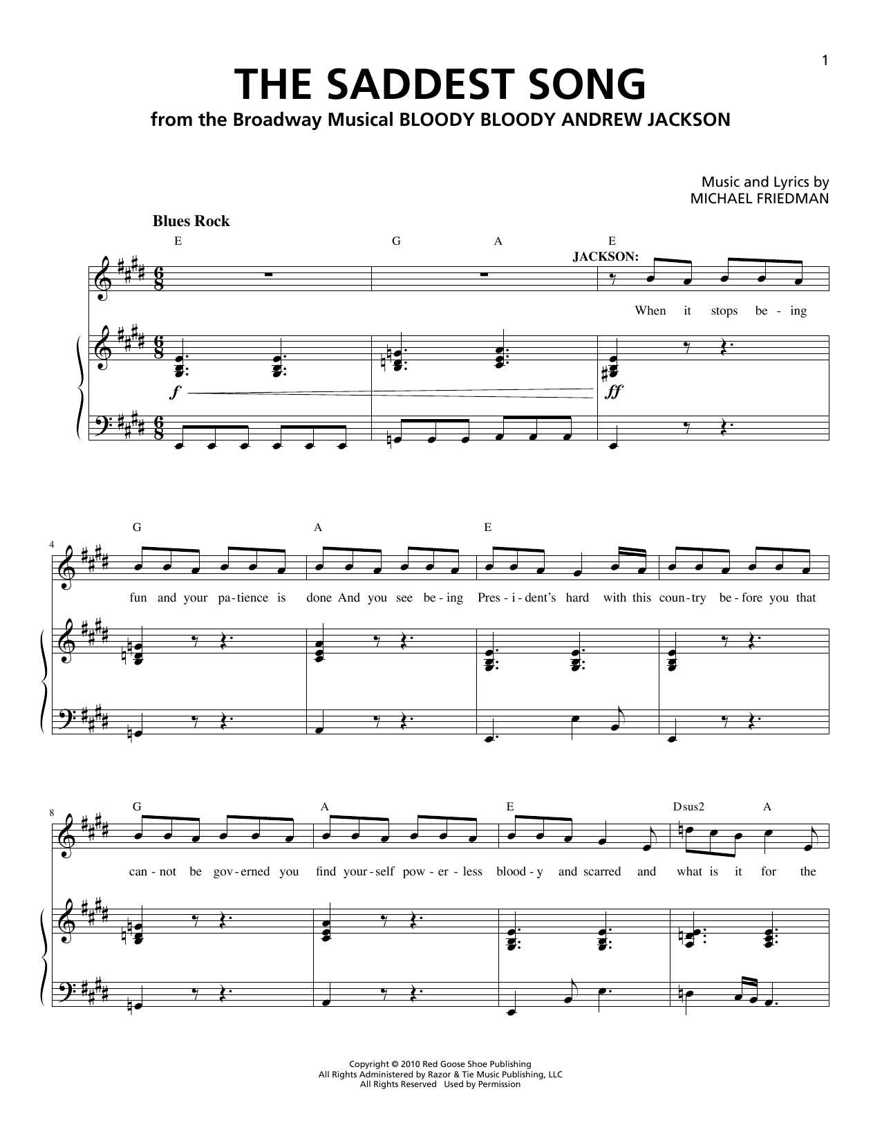 Partition piano The Saddest Song de Michael Friedman - Piano Voix