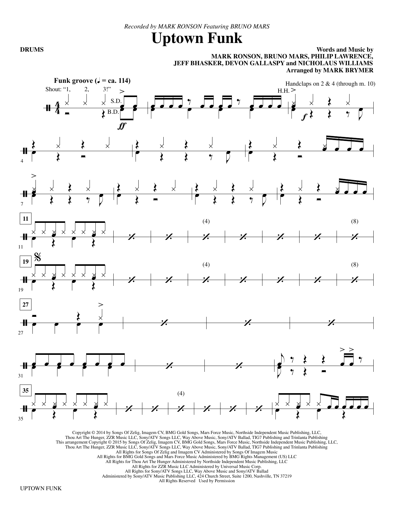 Uptown funk drums sheet music direct