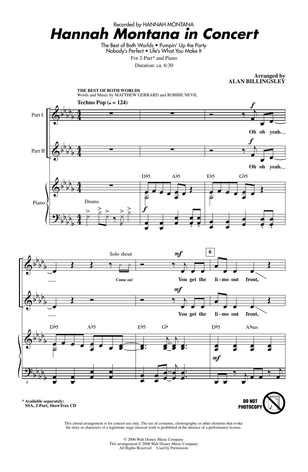 Partition chorale Hannah Montana In Concert de Hannah Montana - 2 voix