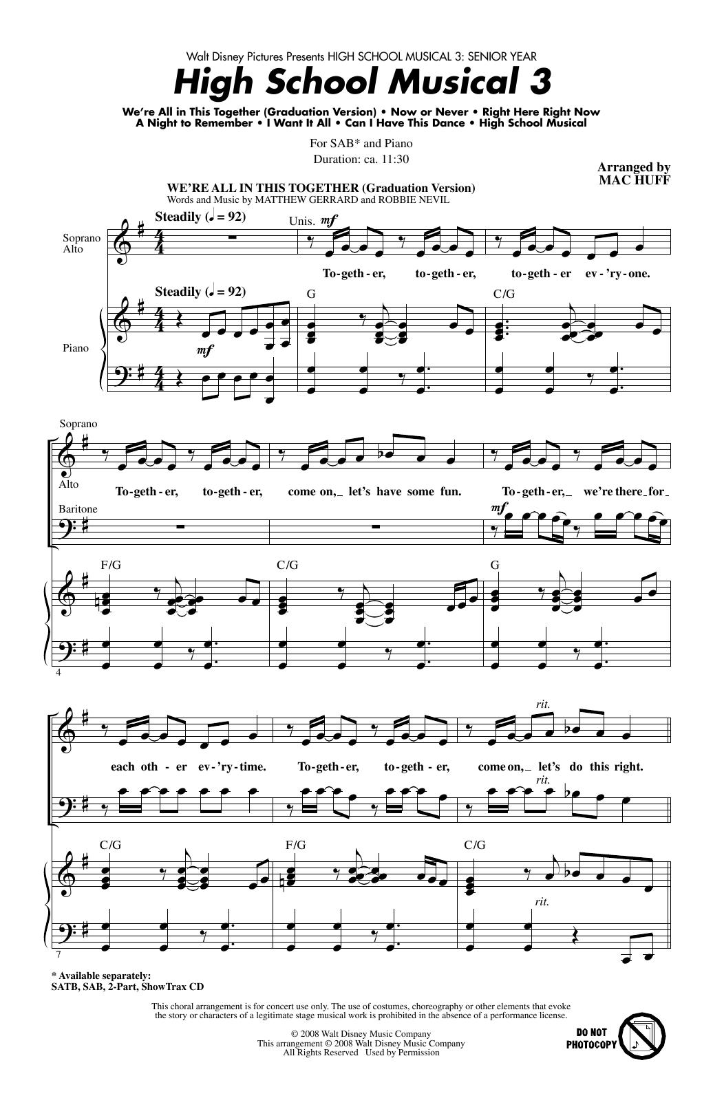 Partition chorale High School Musical 3 (Choral Medley) de  - SAB