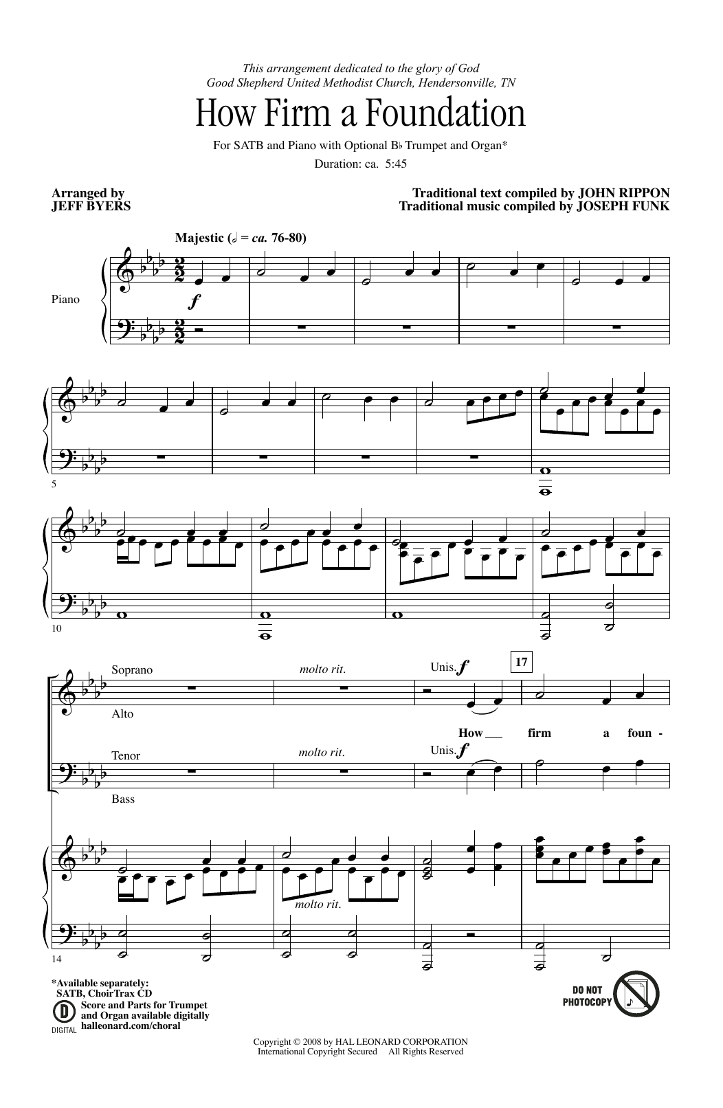 Partition chorale How Firm a Foundation de  - SATB