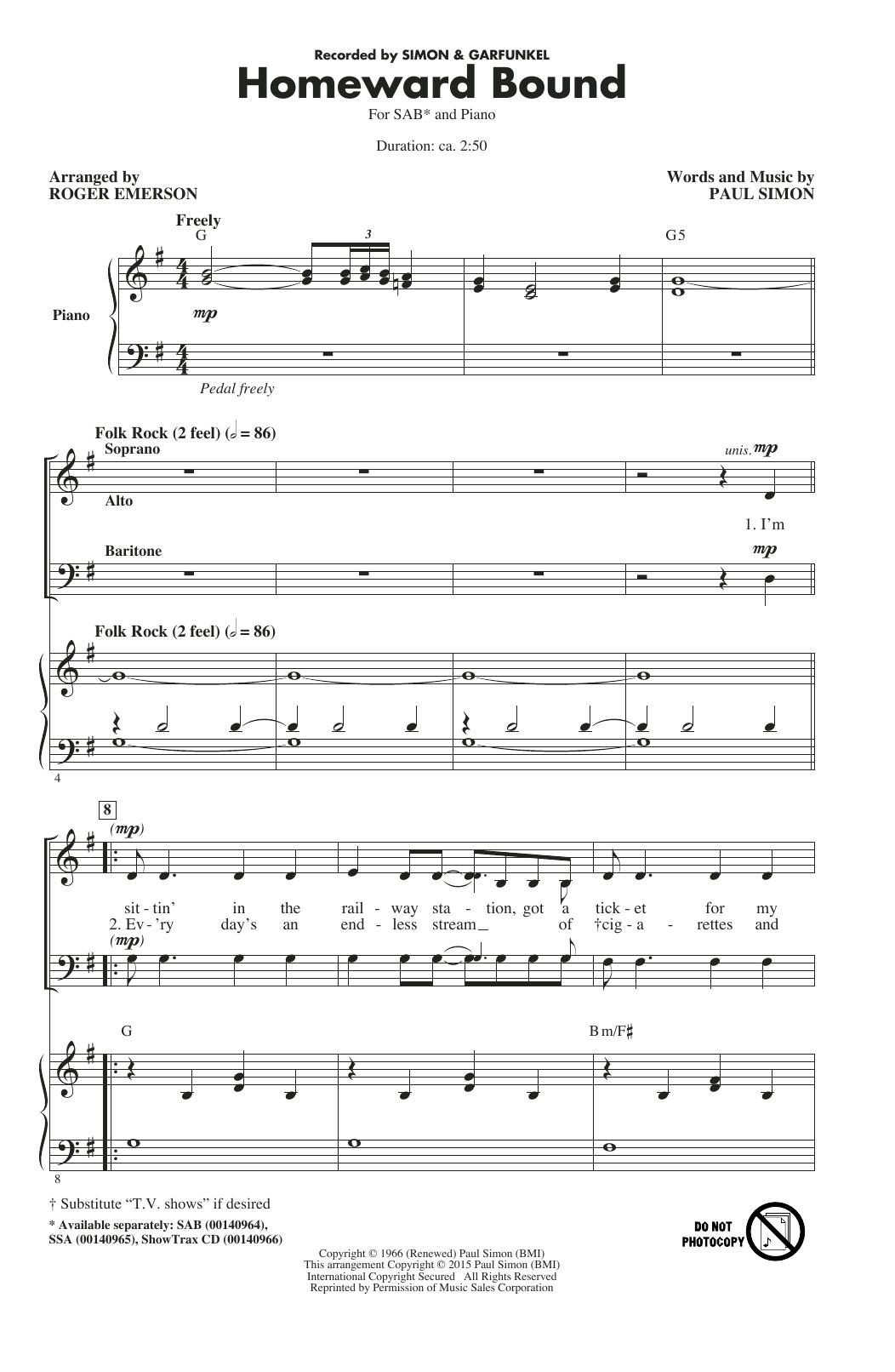 Partition chorale Homeward Bound de Paul Simon - SAB