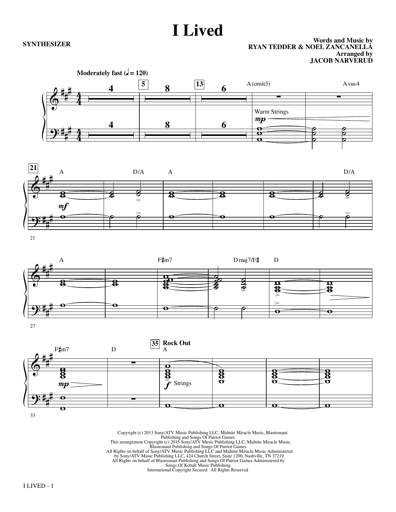 I Lived (complete set of parts) sheet music for orchestra/band by Jacob Narverud
