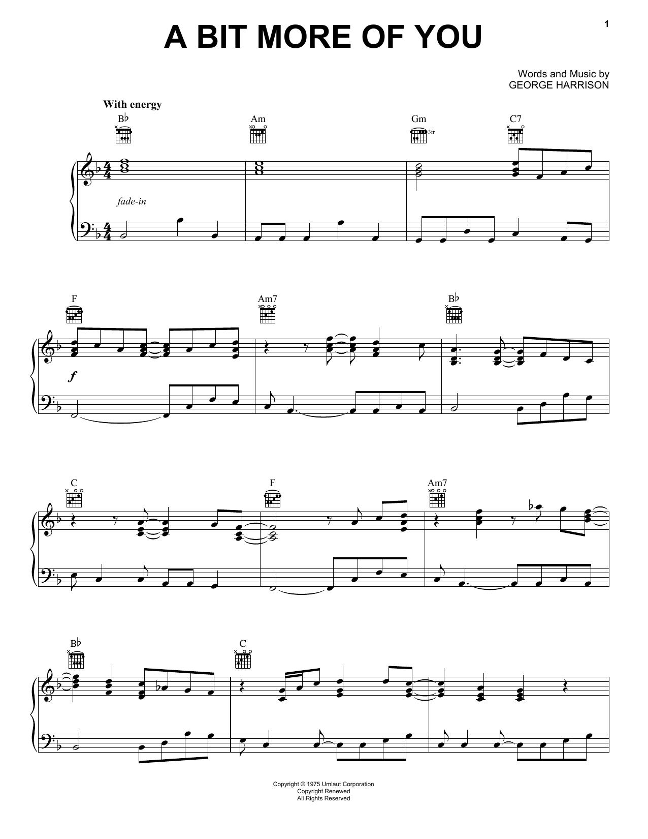 Partition piano A Bit More Of You de George Harrison - Piano Solo