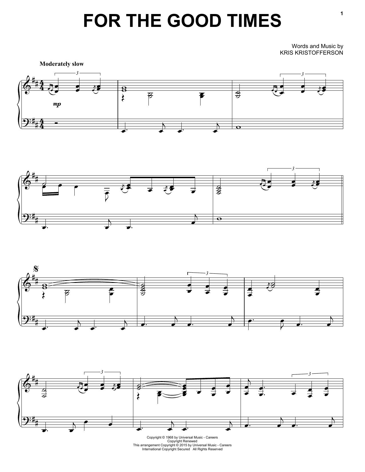 Partition piano For The Good Times de Kris Kristofferson - Piano Solo