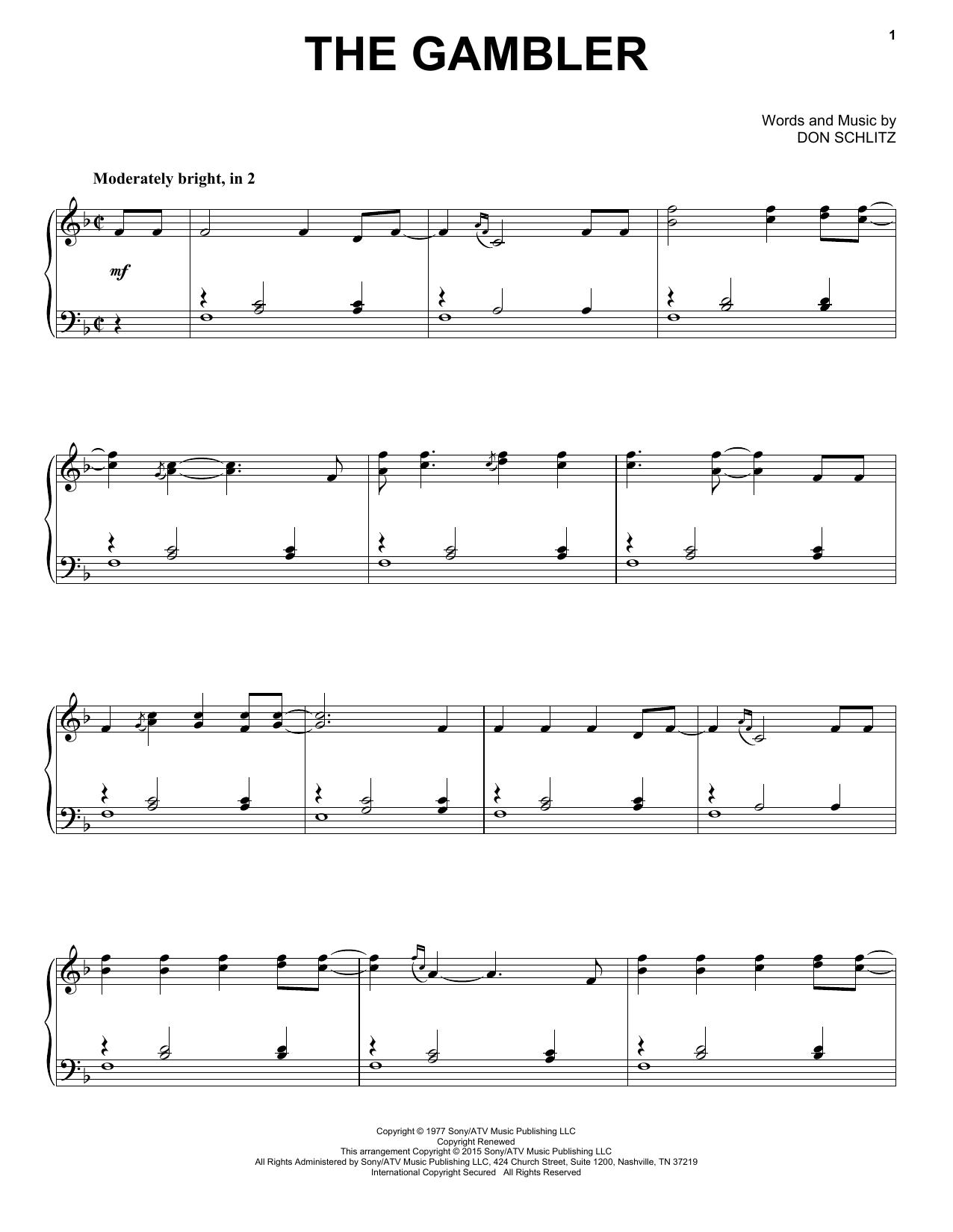 Partition piano The Gambler de Kenny Rogers - Piano Solo