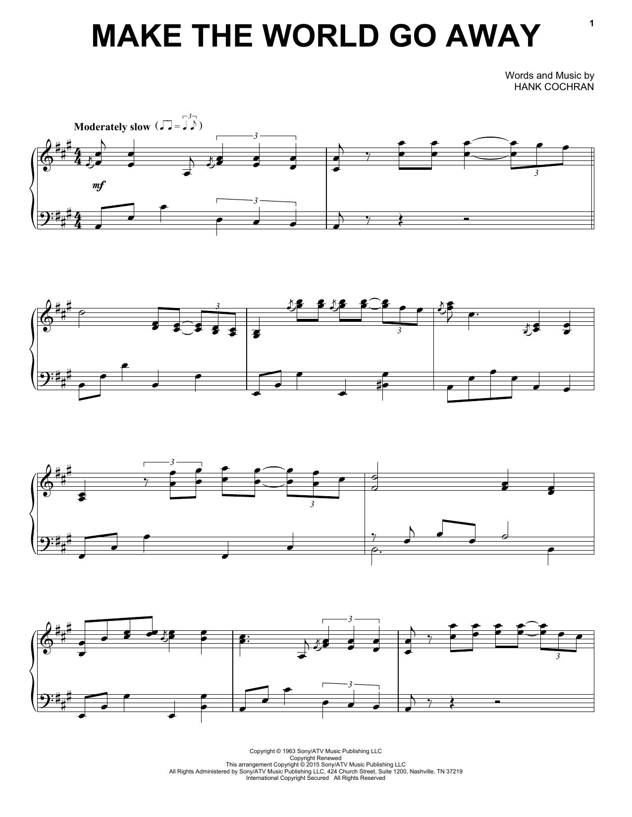 Partition piano Make The World Go Away de Eddy Arnold - Piano Solo