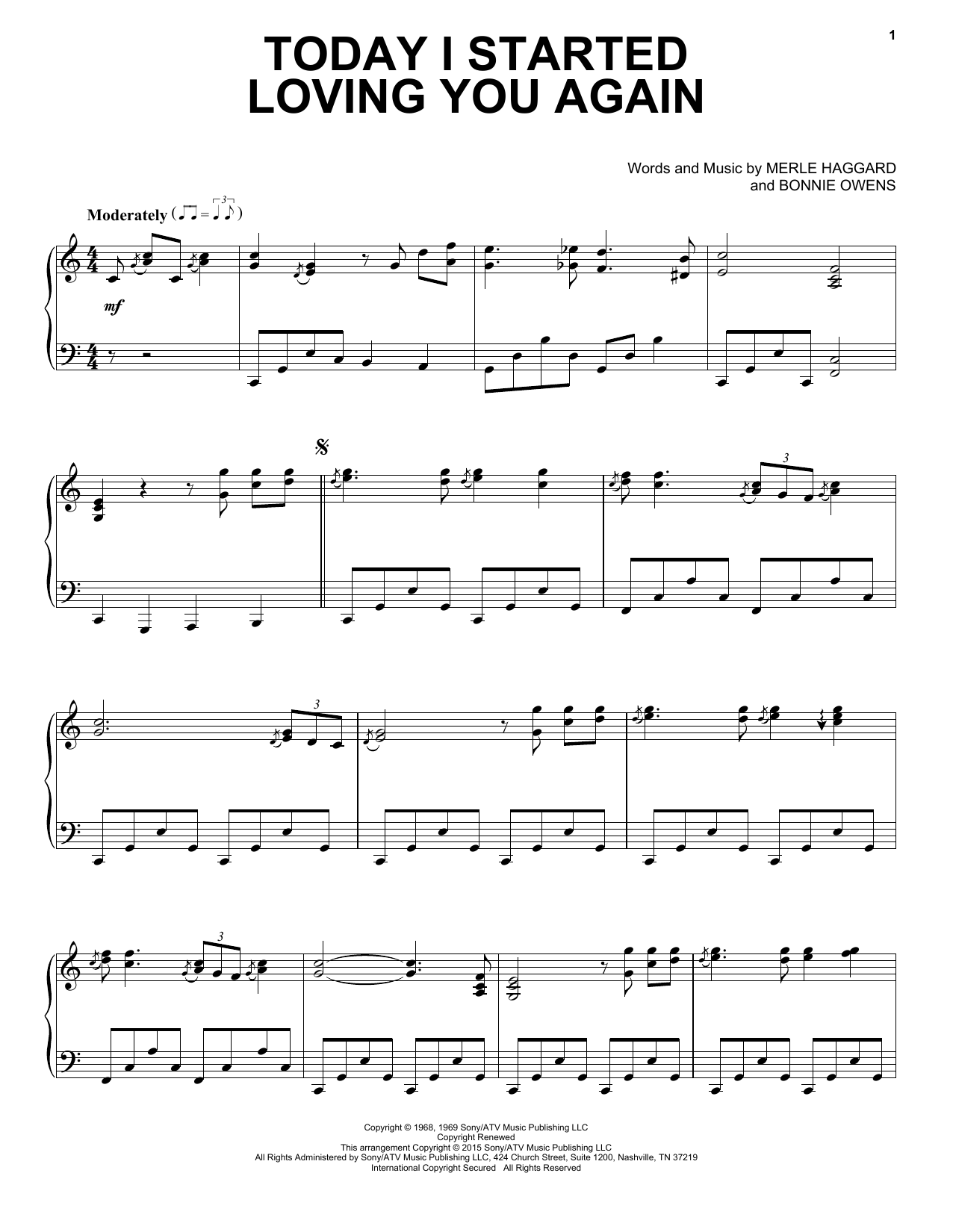 Partition piano Today I Started Loving You Again de Merle Haggard - Piano Solo