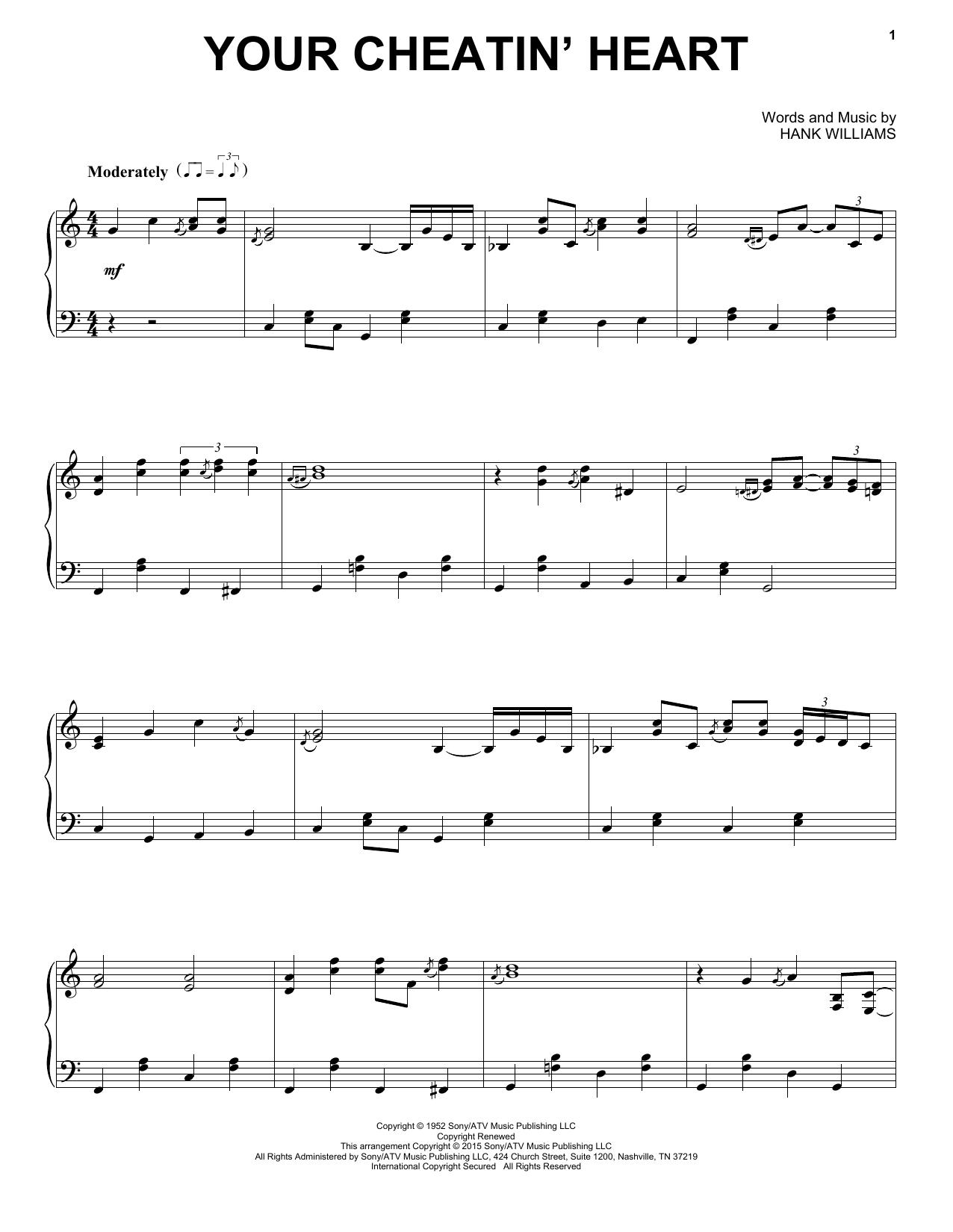 Partition piano Your Cheatin' Heart de Hank Williams - Piano Solo
