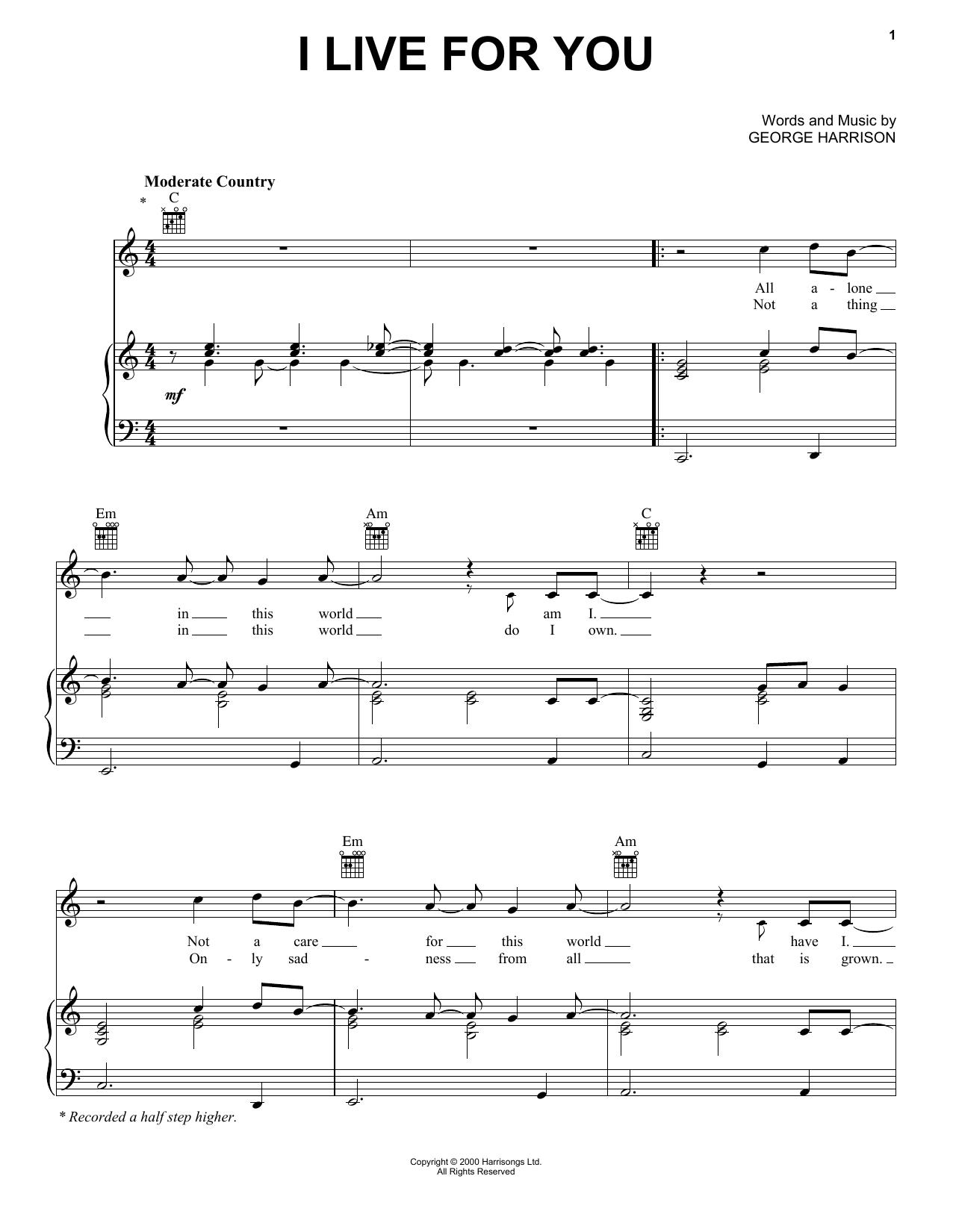Partition piano I Live For You de George Harrison - Piano Voix Guitare (Mélodie Main Droite)