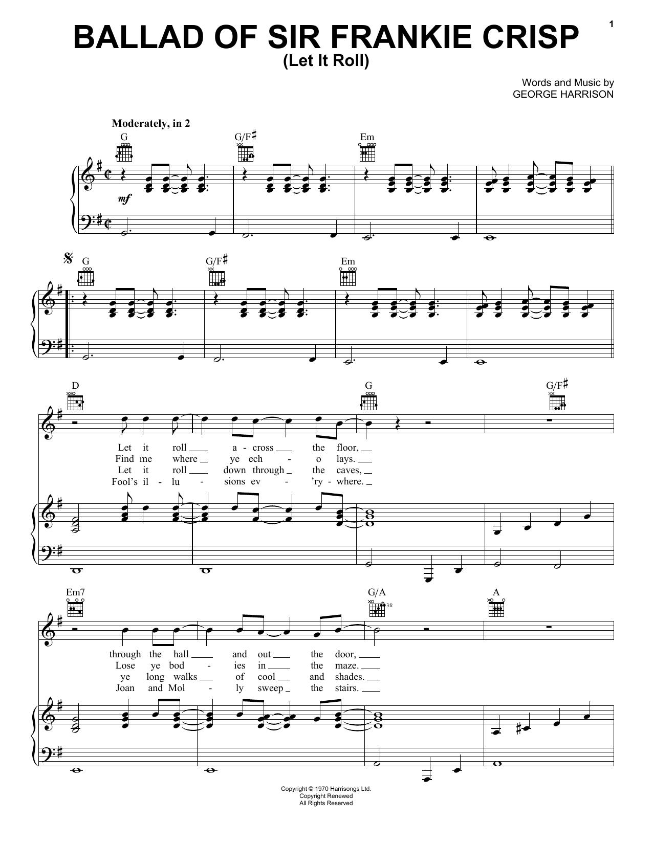 Partition piano Ballad Of Sir Frankie Crisp (Let It Roll) de George Harrison - Piano Voix Guitare (Mélodie Main Droite)