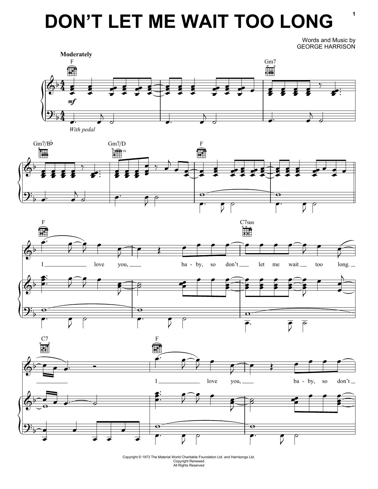 Partition piano Don't Let Me Wait Too Long de George Harrison - Piano Voix Guitare (Mélodie Main Droite)