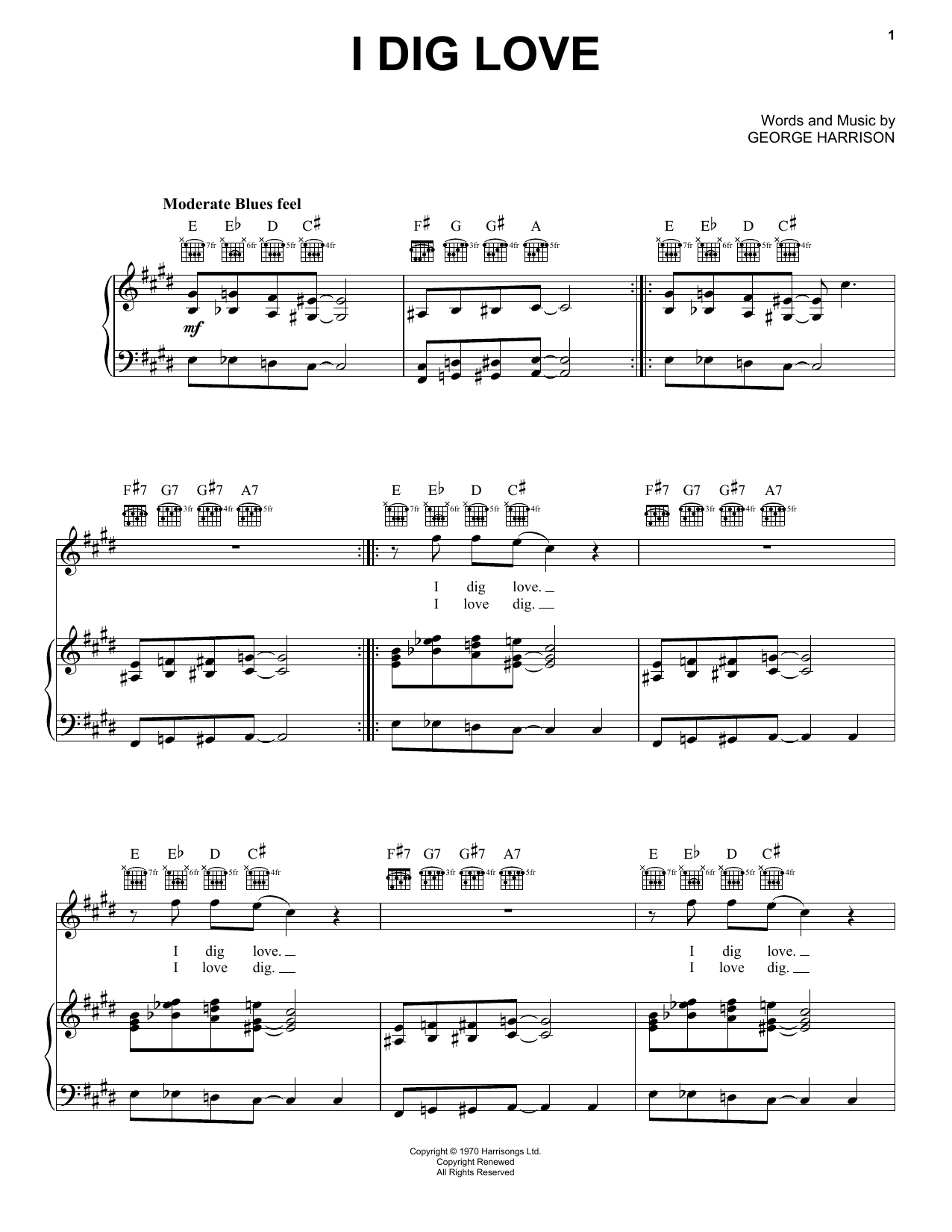 Partition piano I Dig Love de George Harrison - Piano Voix Guitare (Mélodie Main Droite)