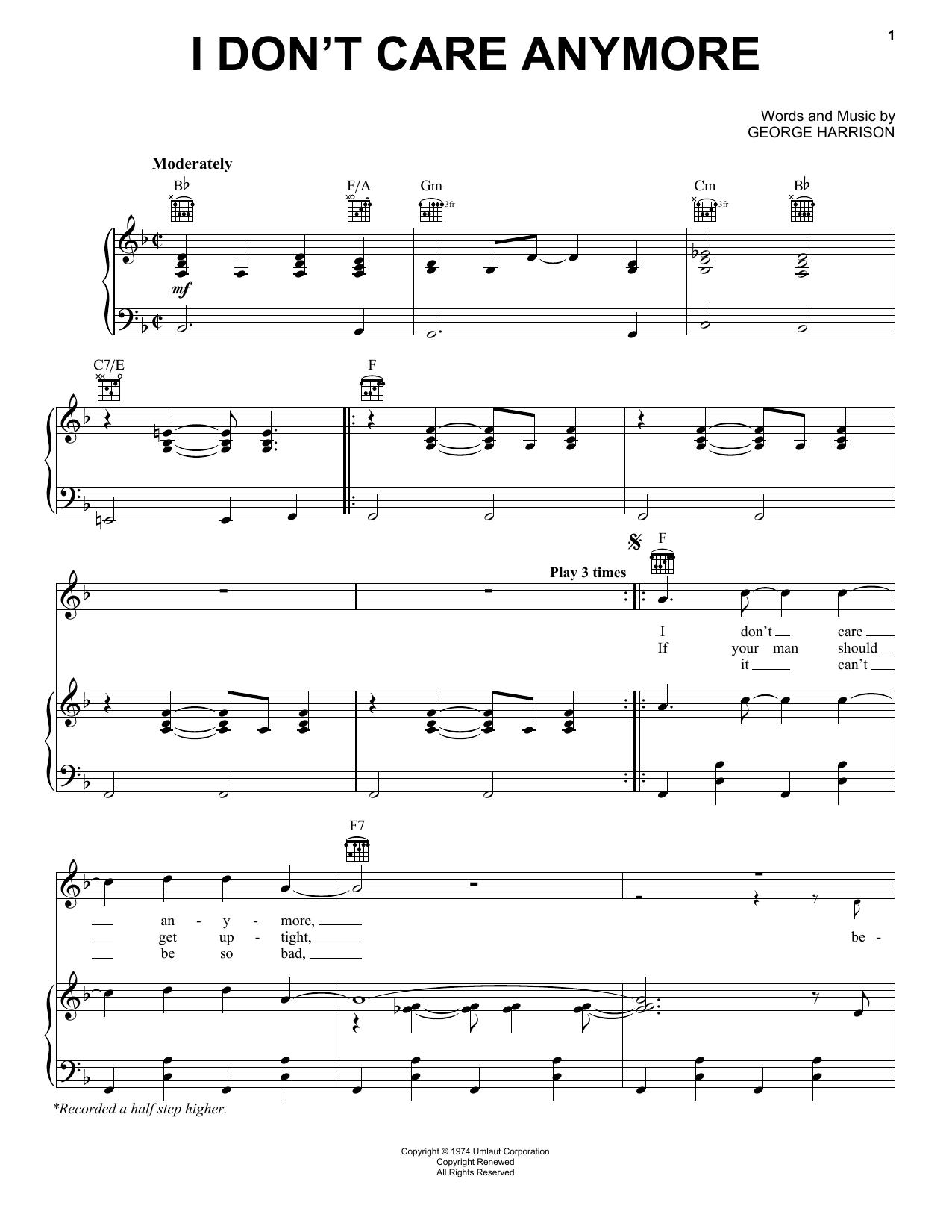 Partition piano I Don't Care Anymore de George Harrison - Piano Voix Guitare (Mélodie Main Droite)