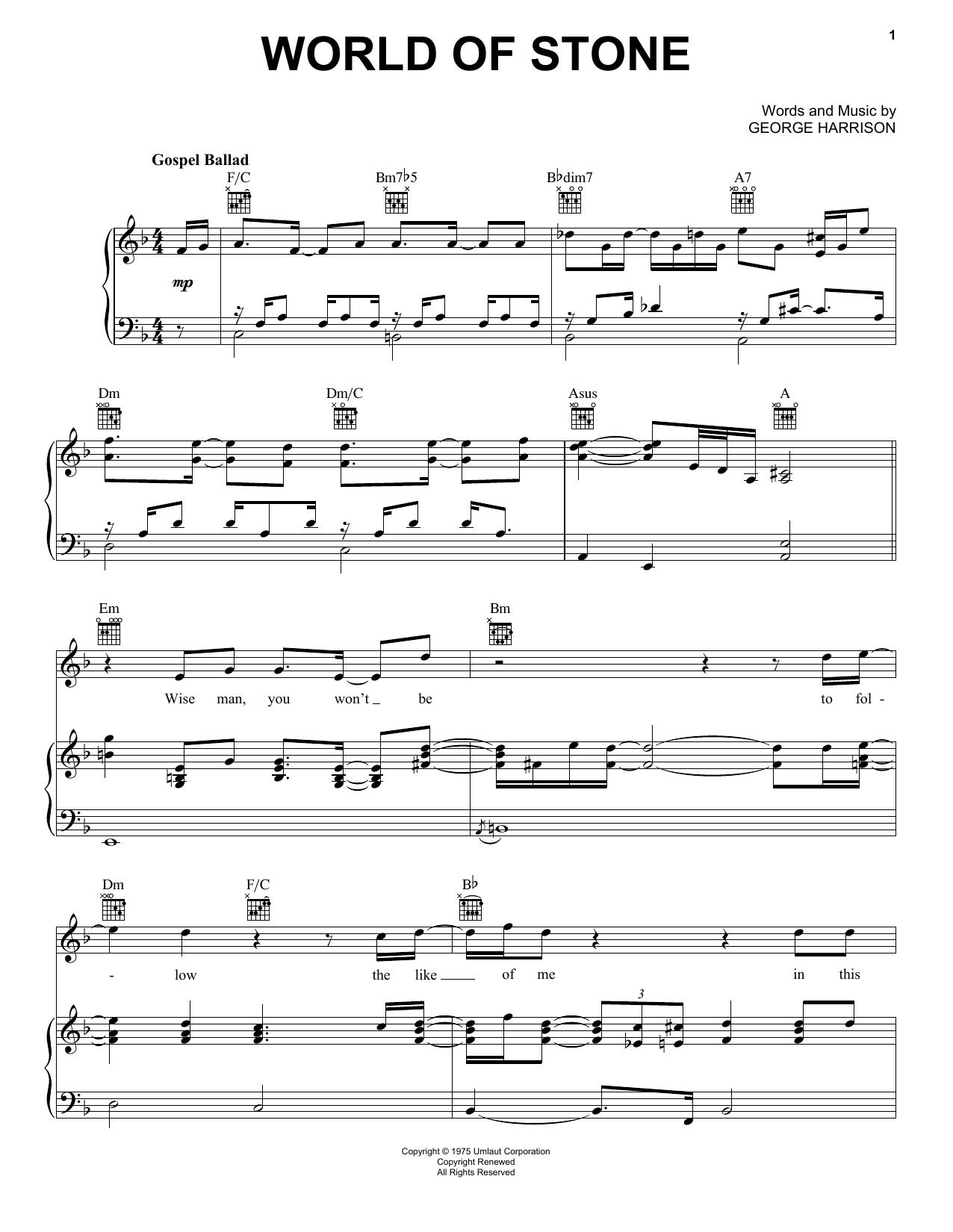Partition piano World Of Stone de George Harrison - Piano Voix Guitare (Mélodie Main Droite)