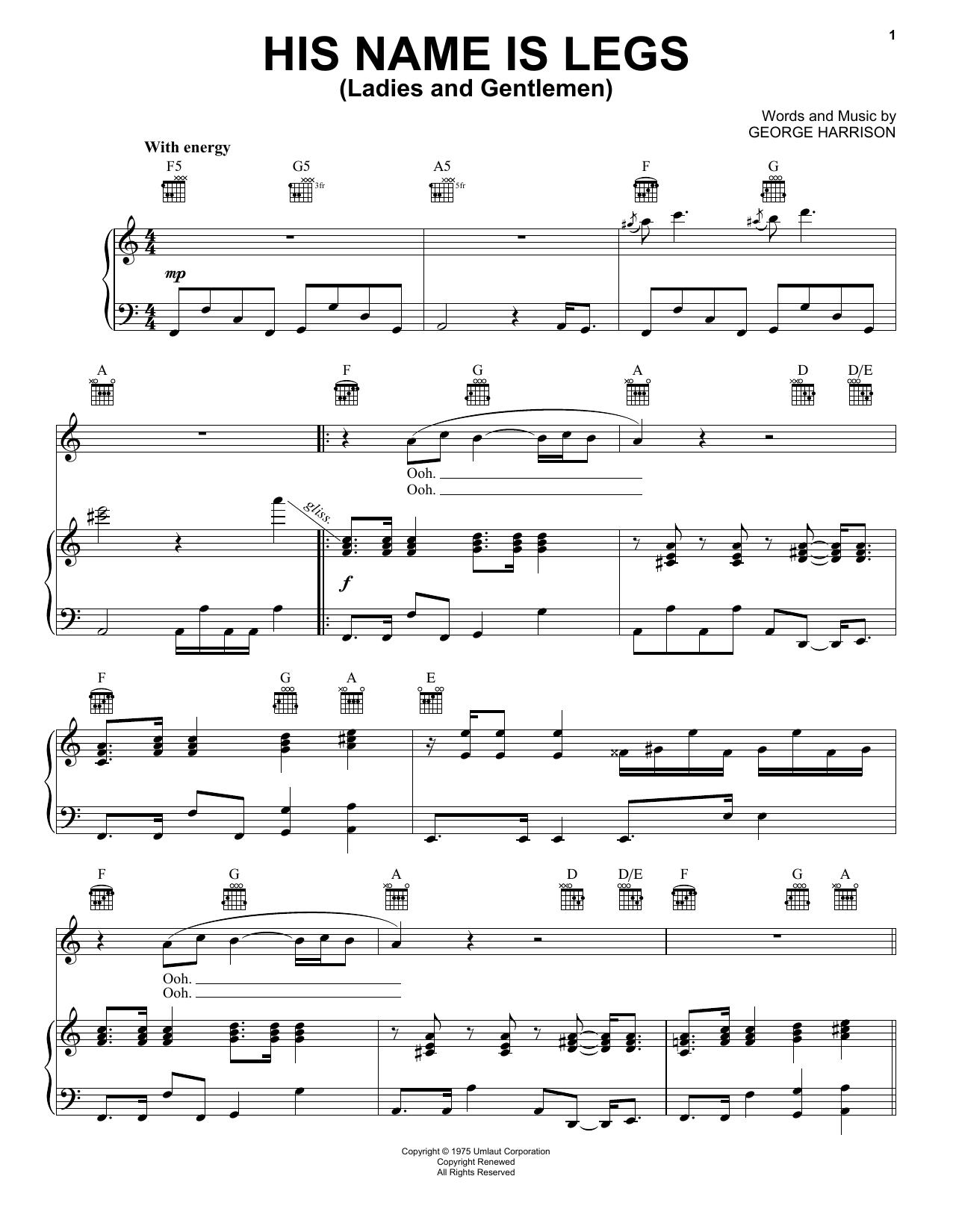 Partition piano His Name Is Legs (Ladies And Gentlemen) de George Harrison - Piano Voix Guitare (Mélodie Main Droite)