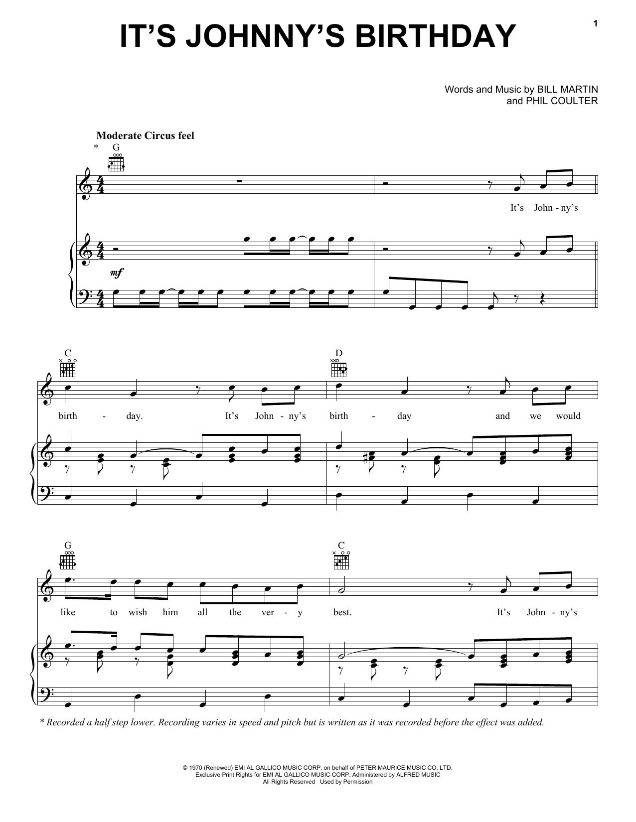 Partition piano It's Johnny's Birthday de George Harrison - Piano Voix Guitare (Mélodie Main Droite)
