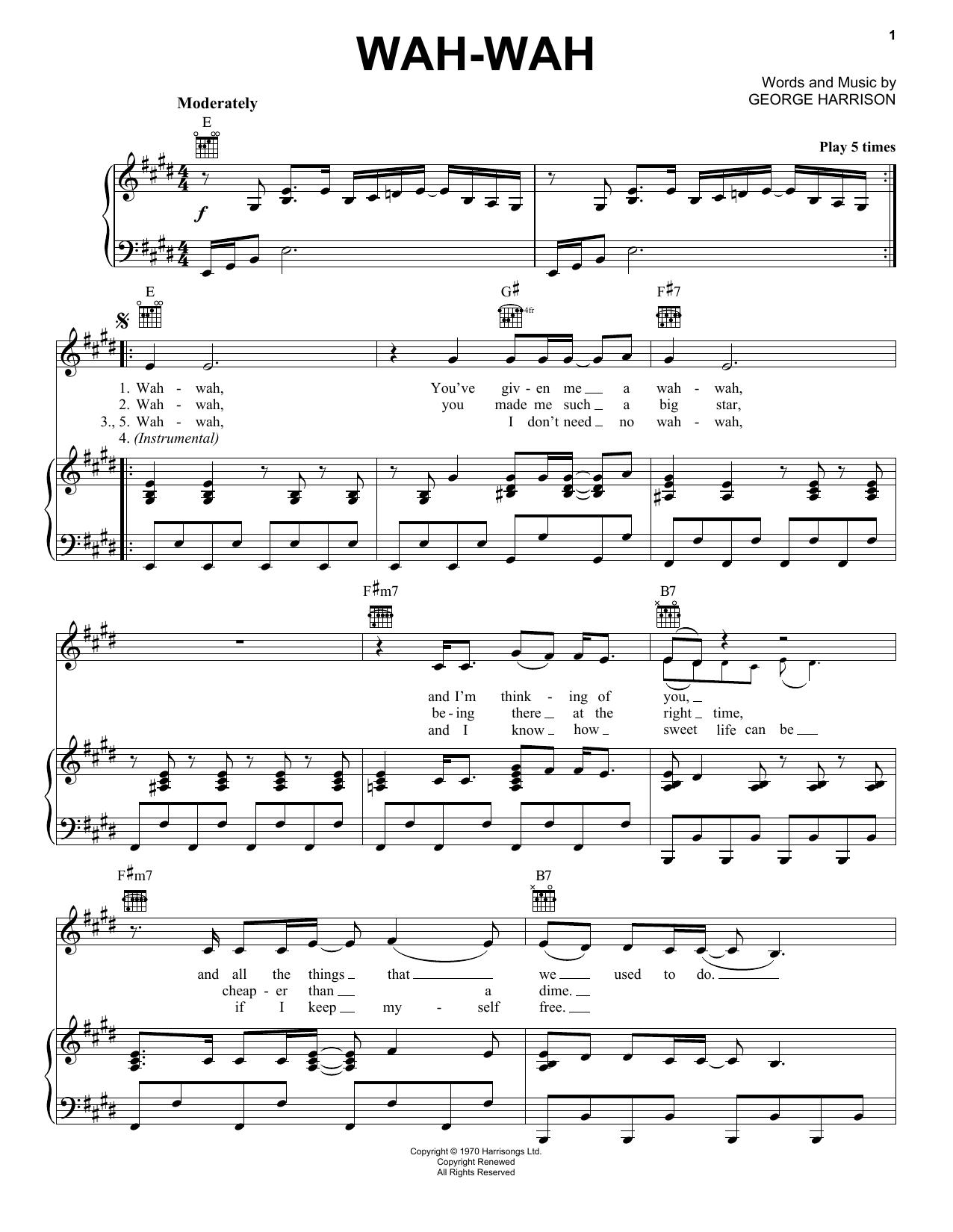 Partition piano Wah-wah de George Harrison - Piano Voix Guitare (Mélodie Main Droite)