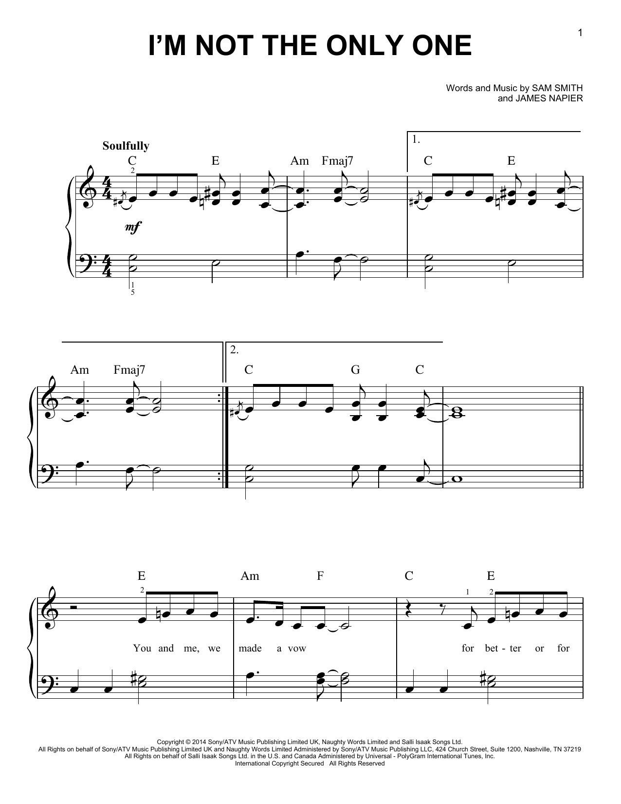 Partition piano I'm Not The Only One de Sam Smith - Piano Facile