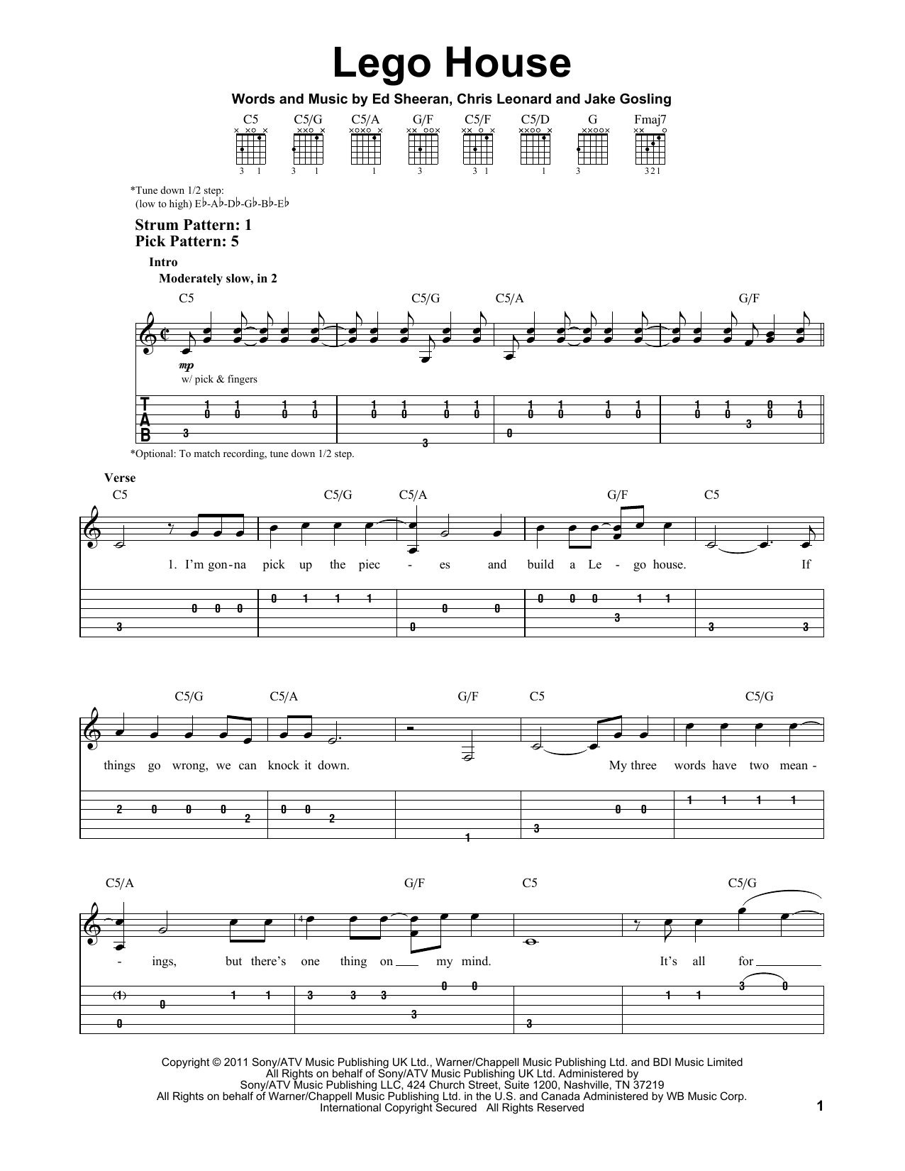Tablature guitare Lego House de Ed Sheeran - Tablature guitare facile