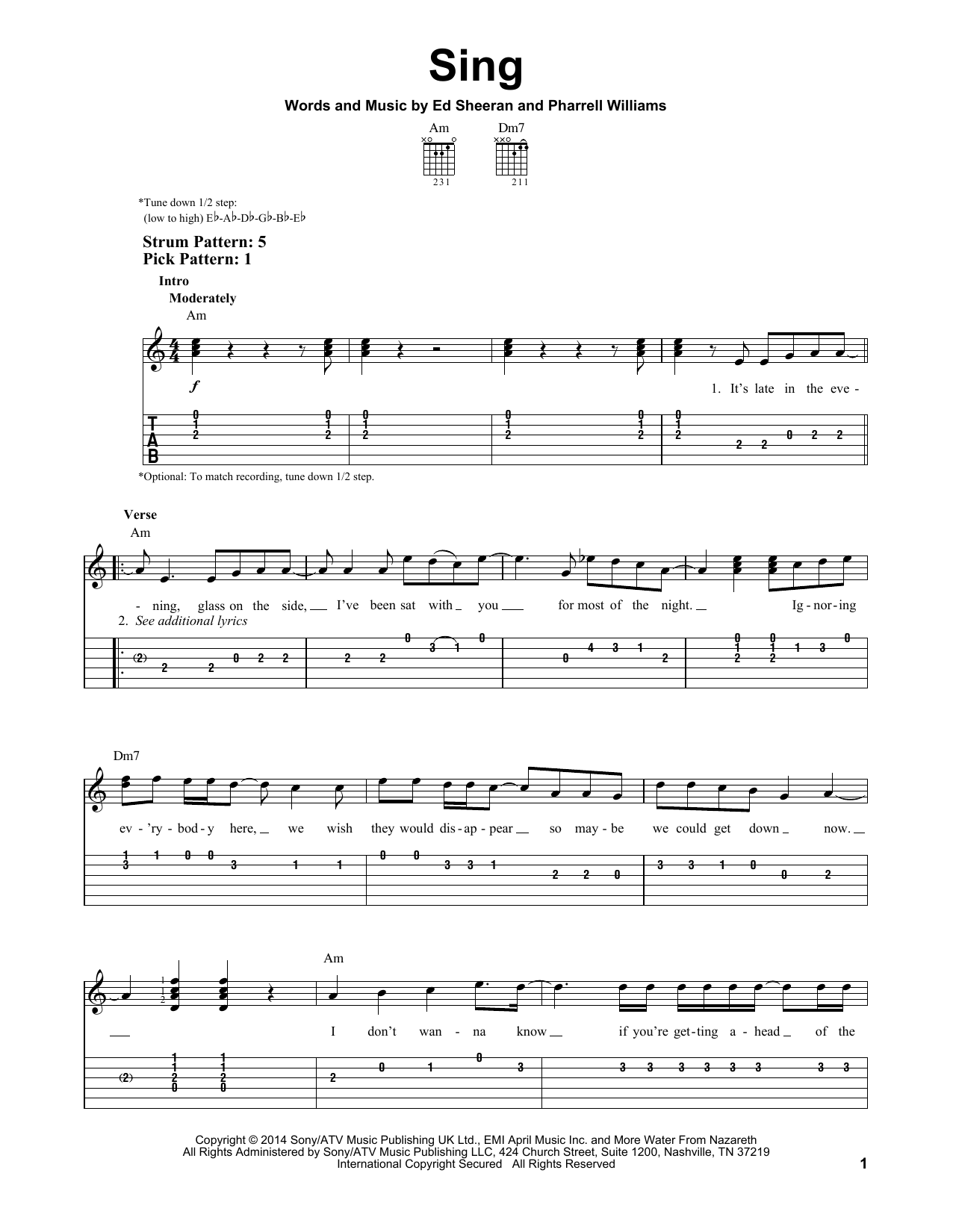 Tablature guitare Sing de Ed Sheeran - Tablature guitare facile