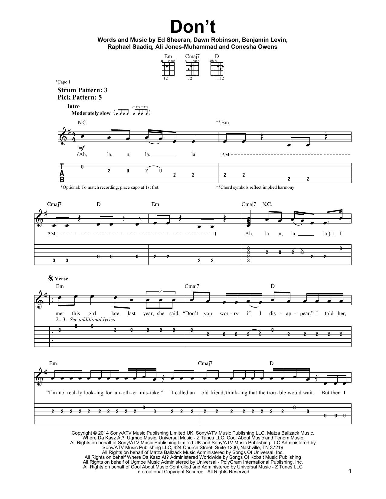 Tablature guitare Don't de Ed Sheeran - Tablature guitare facile