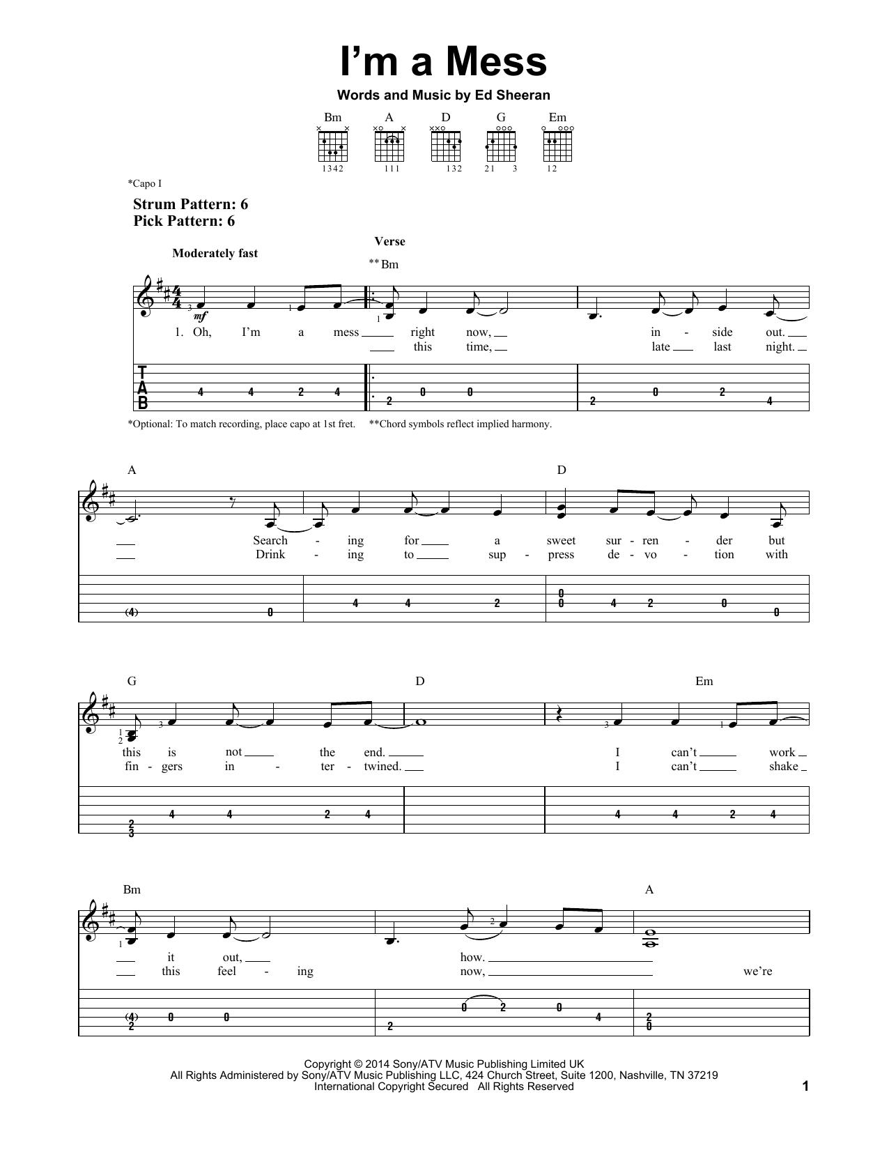 Tablature guitare I'm A Mess de Ed Sheeran - Tablature guitare facile