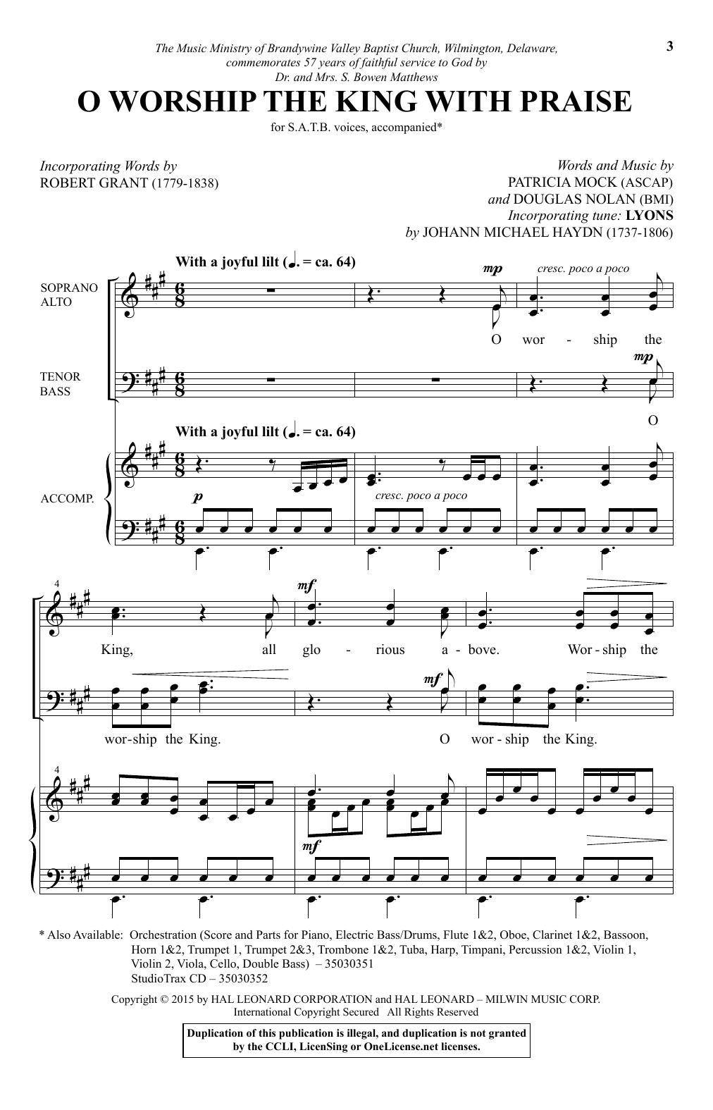 Partition chorale O Worship The King With Praise de Douglas Nolan - SATB