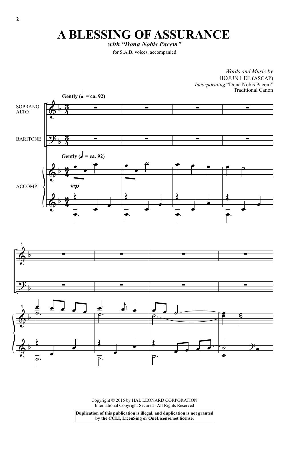Partition chorale A Blessing Of Assurance de Hojun Lee - SAB