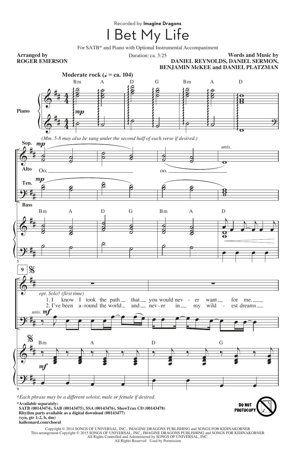 Partition chorale I Bet My Life (arr. Roger Emerson) de Imagine Dragons - SATB