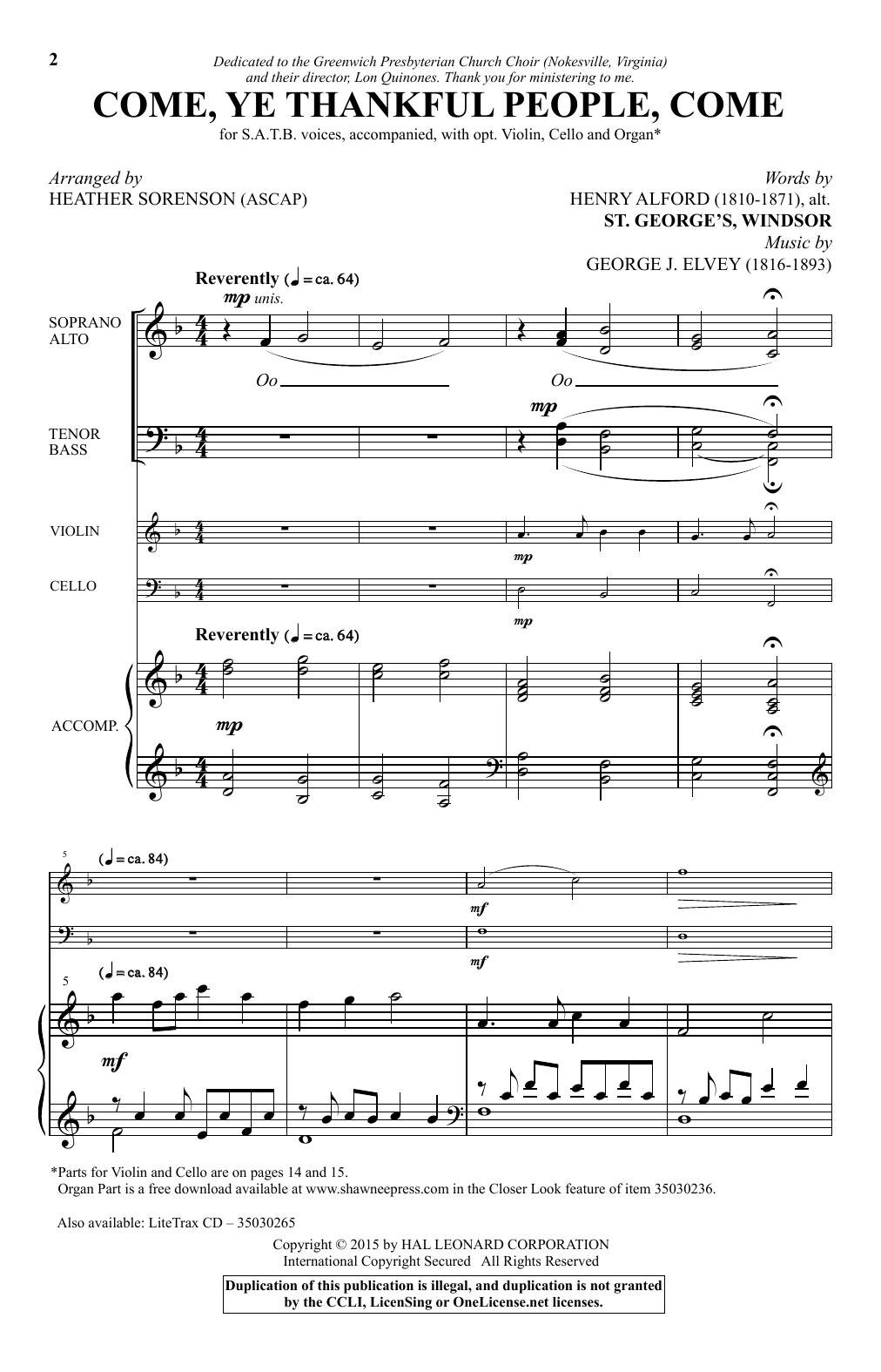 Partition chorale Come, Ye Thankful People, Come (arr. Heather Sorenson) de  - SATB