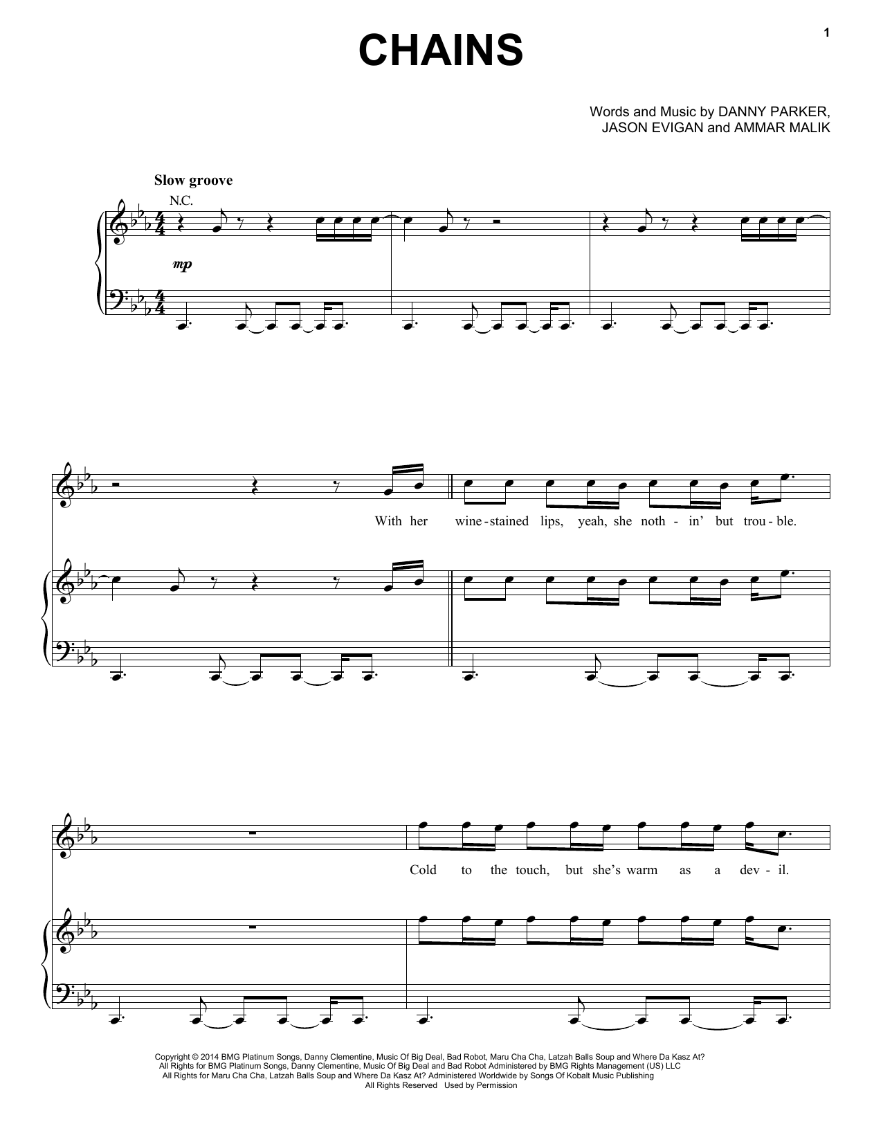 Partition piano Chains de Nick Jonas - Piano Voix Guitare (Mélodie Main Droite)