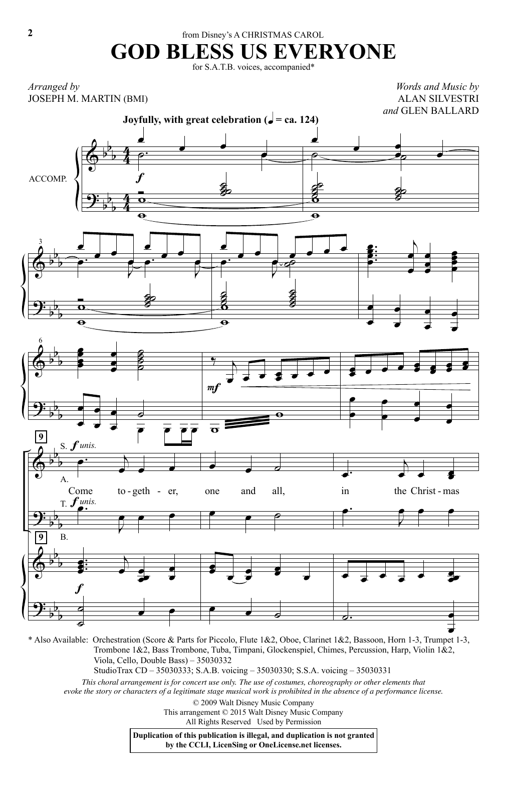 Partition chorale God Bless Us Everyone (from Disney's A Christmas Carol) (arr. Joseph M. Martin) de Andrea Bocelli - SATB