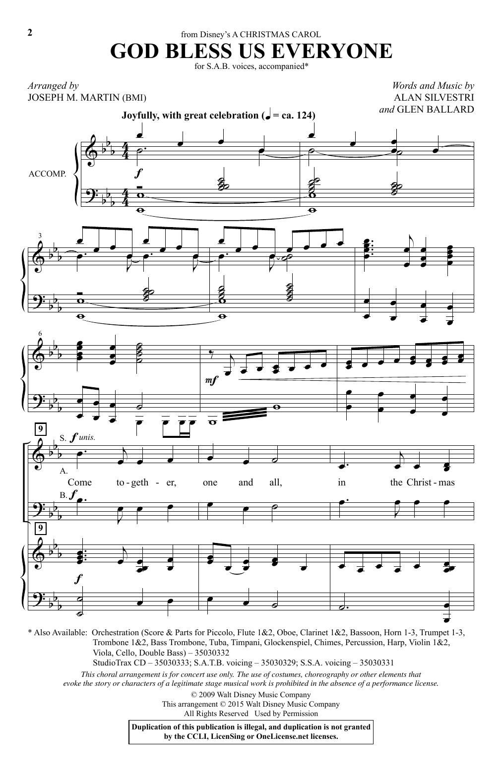Partition chorale God Bless Us Everyone (from Disney's A Christmas Carol) (arr. Joseph M. Martin) de Andrea Bocelli - SAB