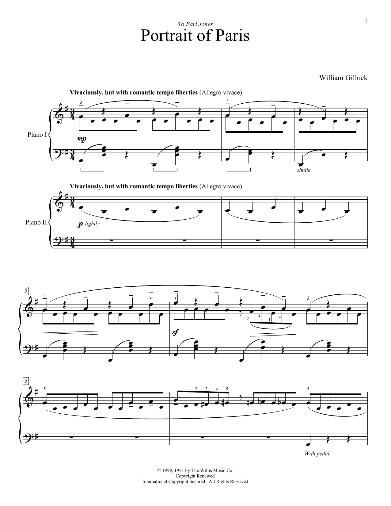 Accent on Two Pianos - Intermediate to Advanced Level by William L. Gillock