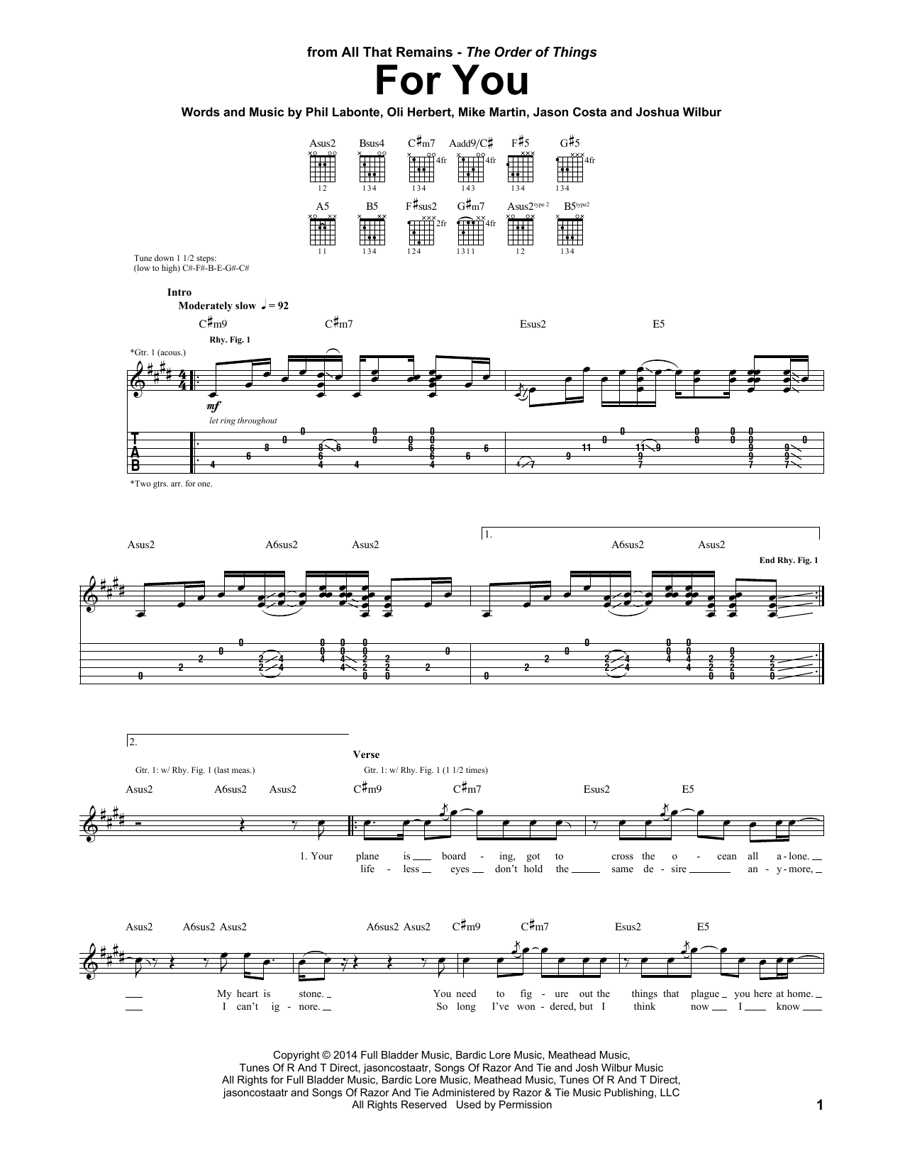 Tablature guitare For You de All That Remains - Tablature Guitare
