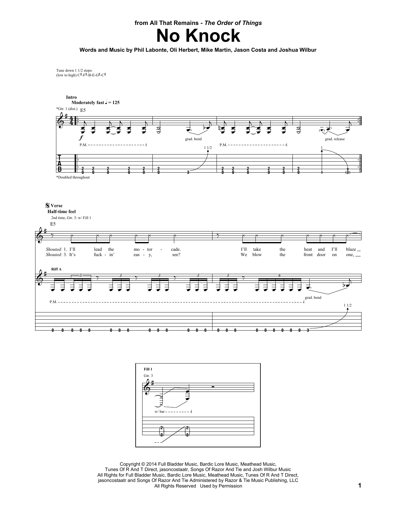 Tablature guitare No Knock de All That Remains - Tablature Guitare