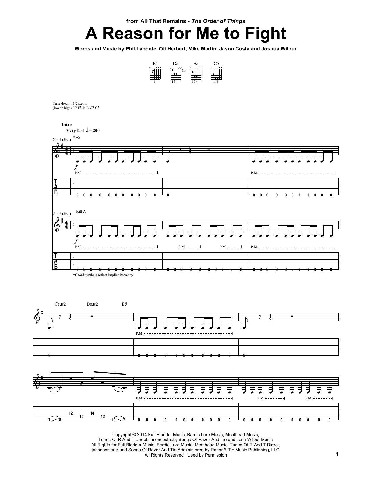 Tablature guitare A Reason For Me To Fight de All That Remains - Tablature Guitare