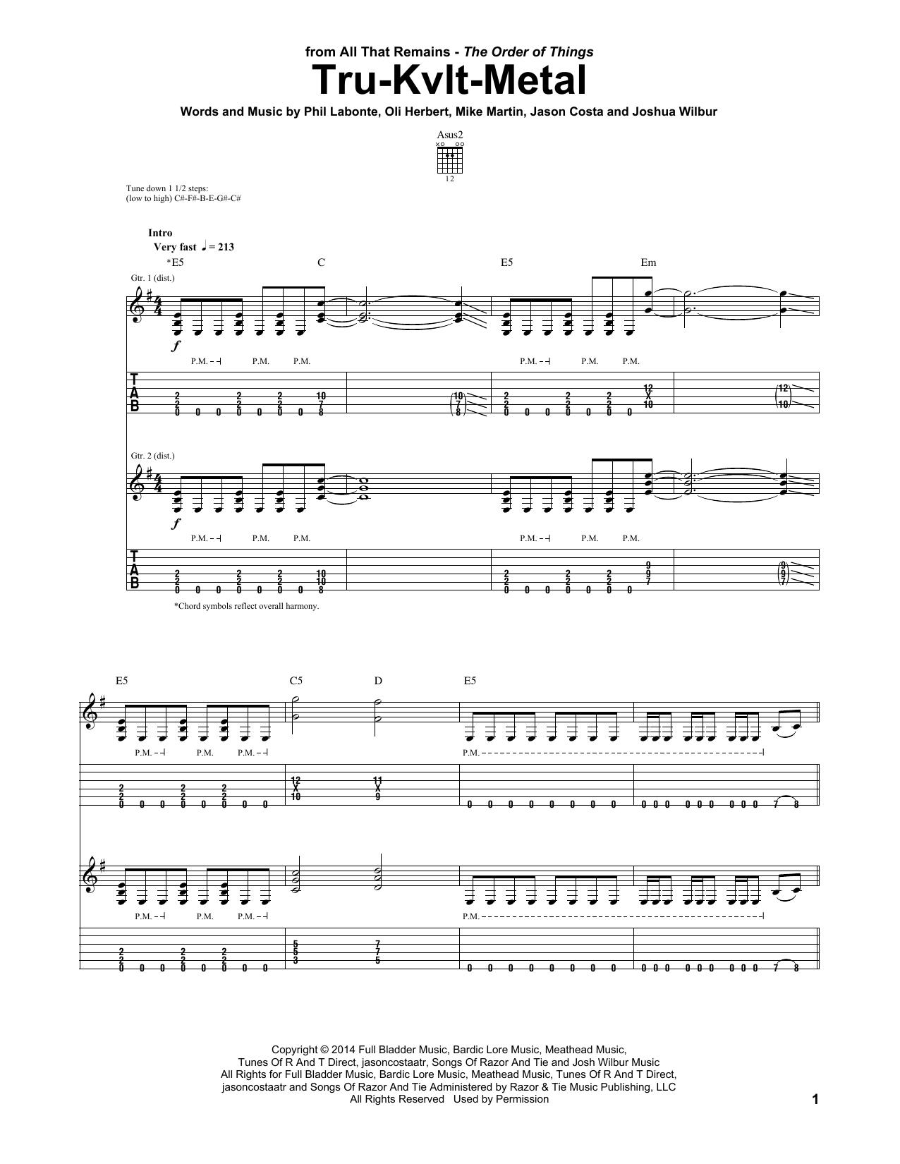 Tablature guitare Tru-Kvlt-Metal de All That Remains - Tablature Guitare