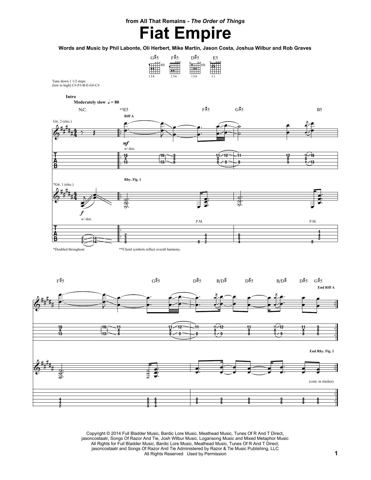 Tablature guitare Fiat Empire de All That Remains - Tablature Guitare