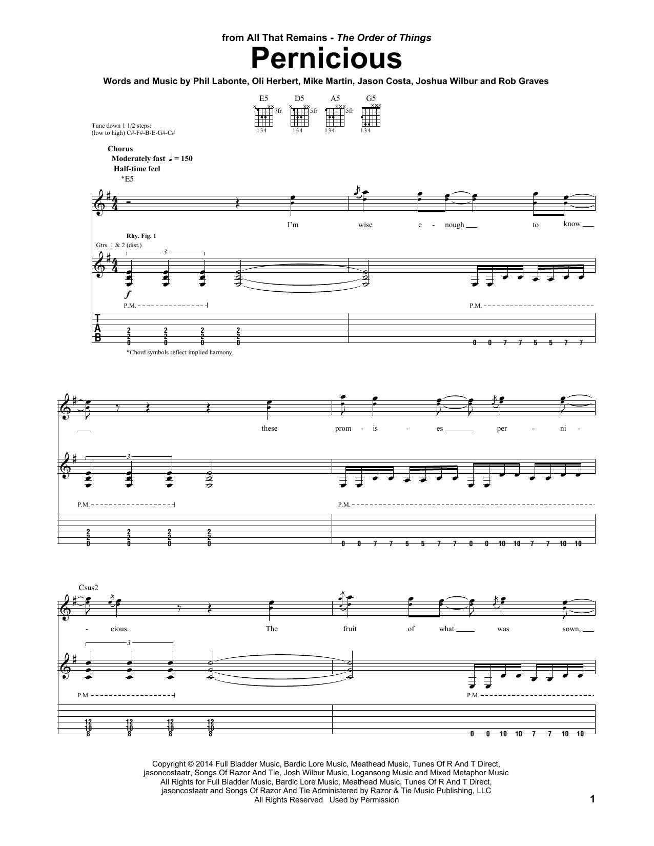 Tablature guitare Pernicious de All That Remains - Tablature Guitare