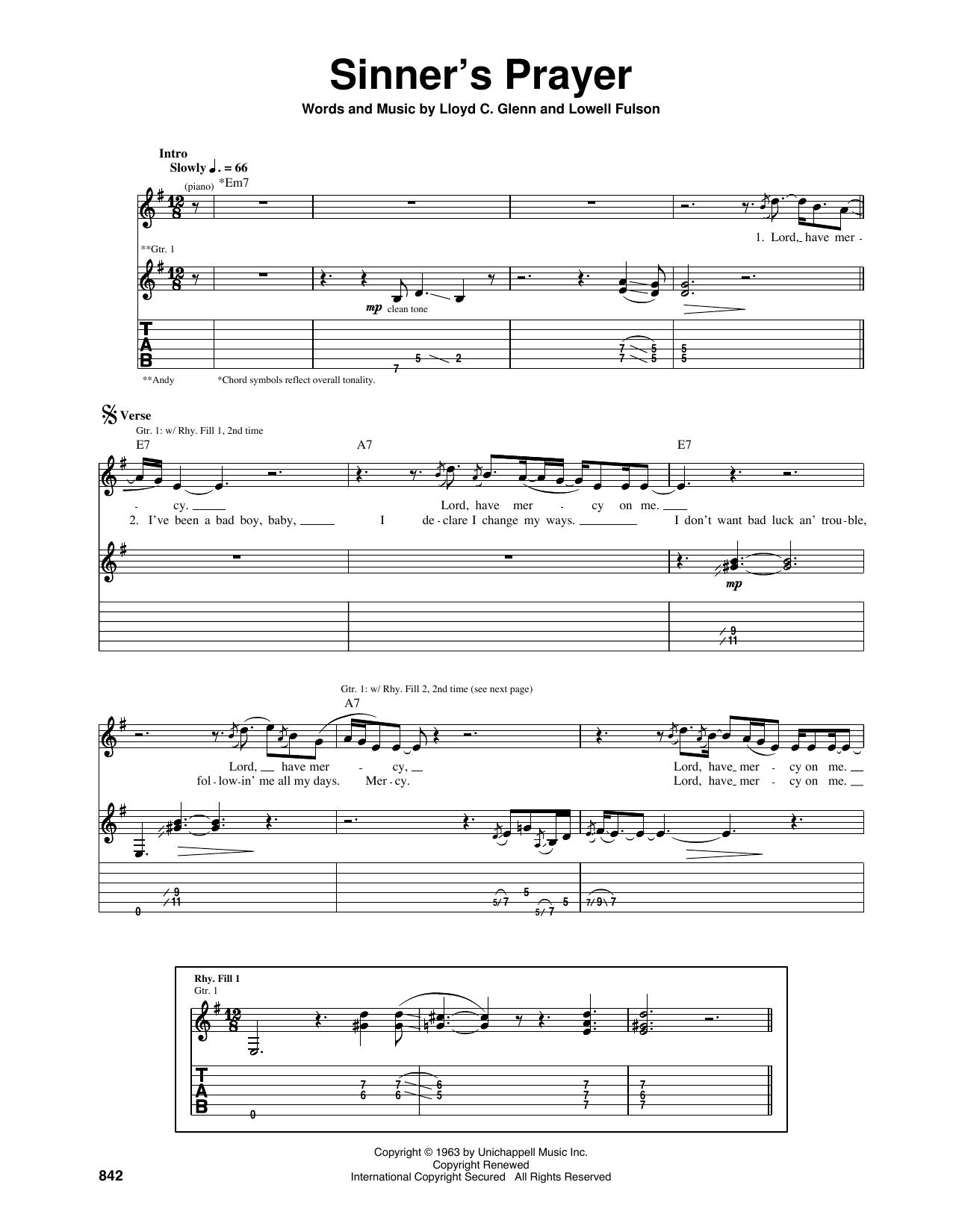 Tablature guitare Sinner's Prayer de Eric Clapton - Tablature Guitare