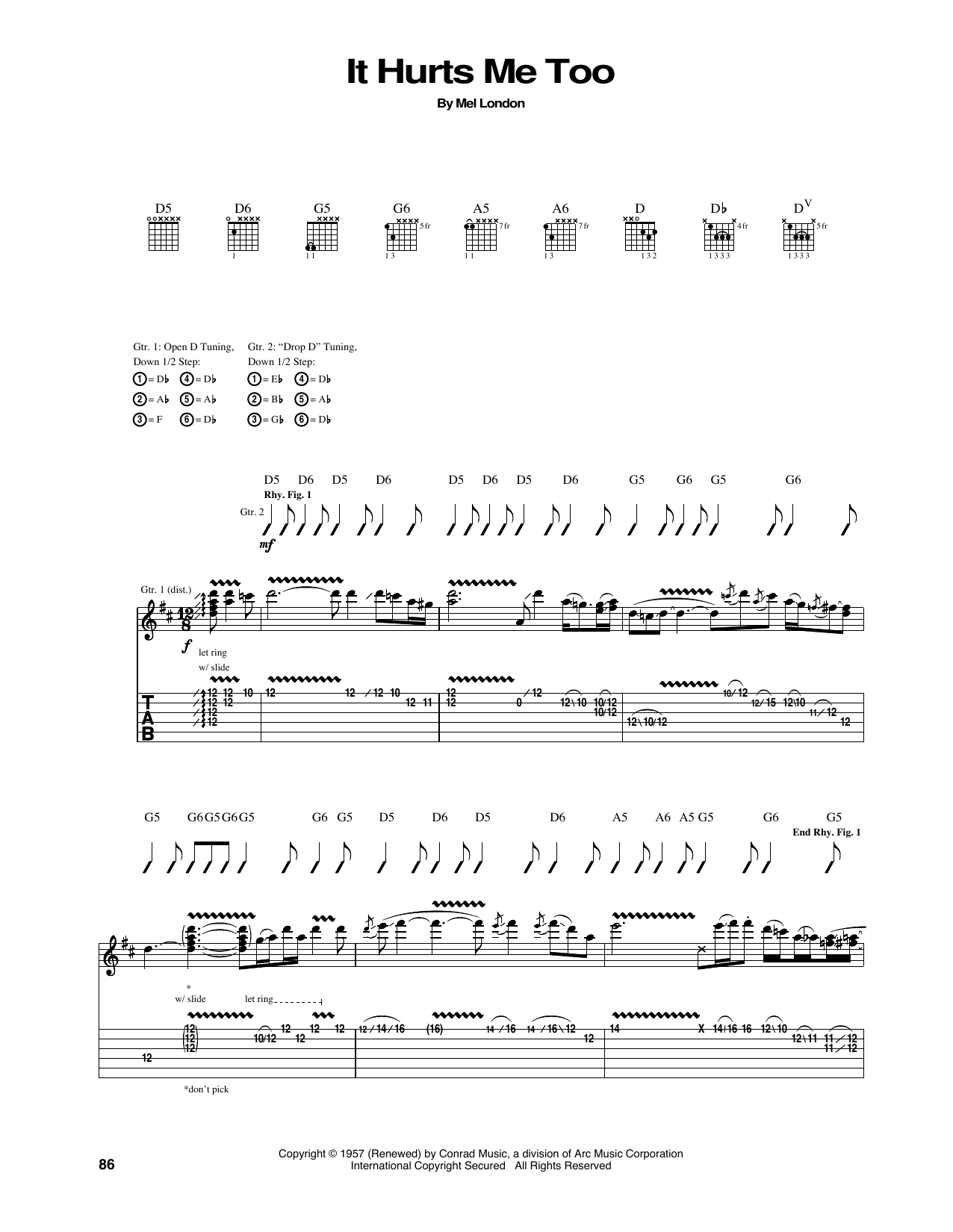 Tablature guitare It Hurts Me Too de Eric Clapton - Tablature Guitare