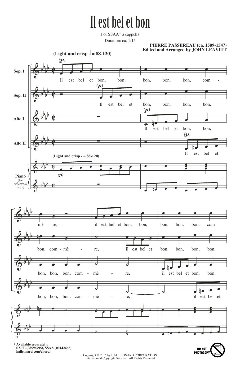 Partition chorale Il Est Bel Et Bon (A Good And Handsome Man) de  - SSA