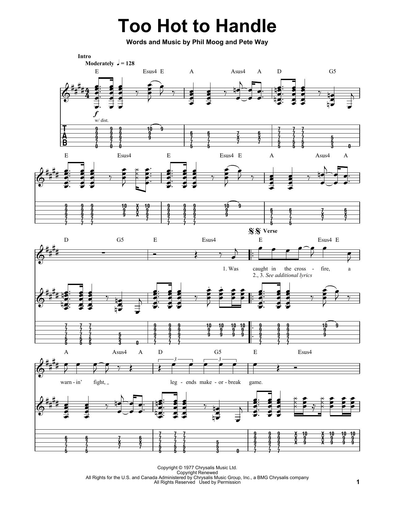 Tablature guitare Too Hot To Handle de UFO - Tablature Guitare