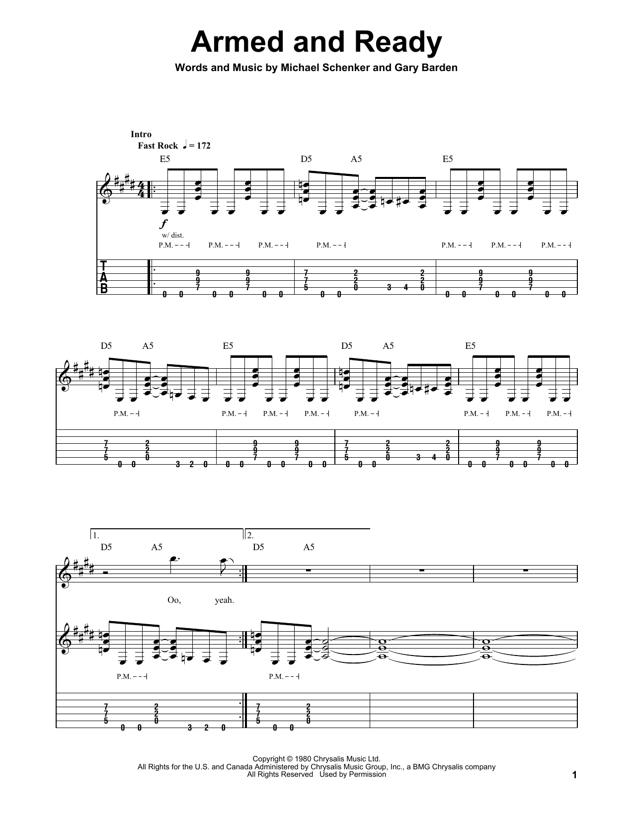 Tablature guitare Armed And Ready de Michael Schenker Group - Tablature Guitare