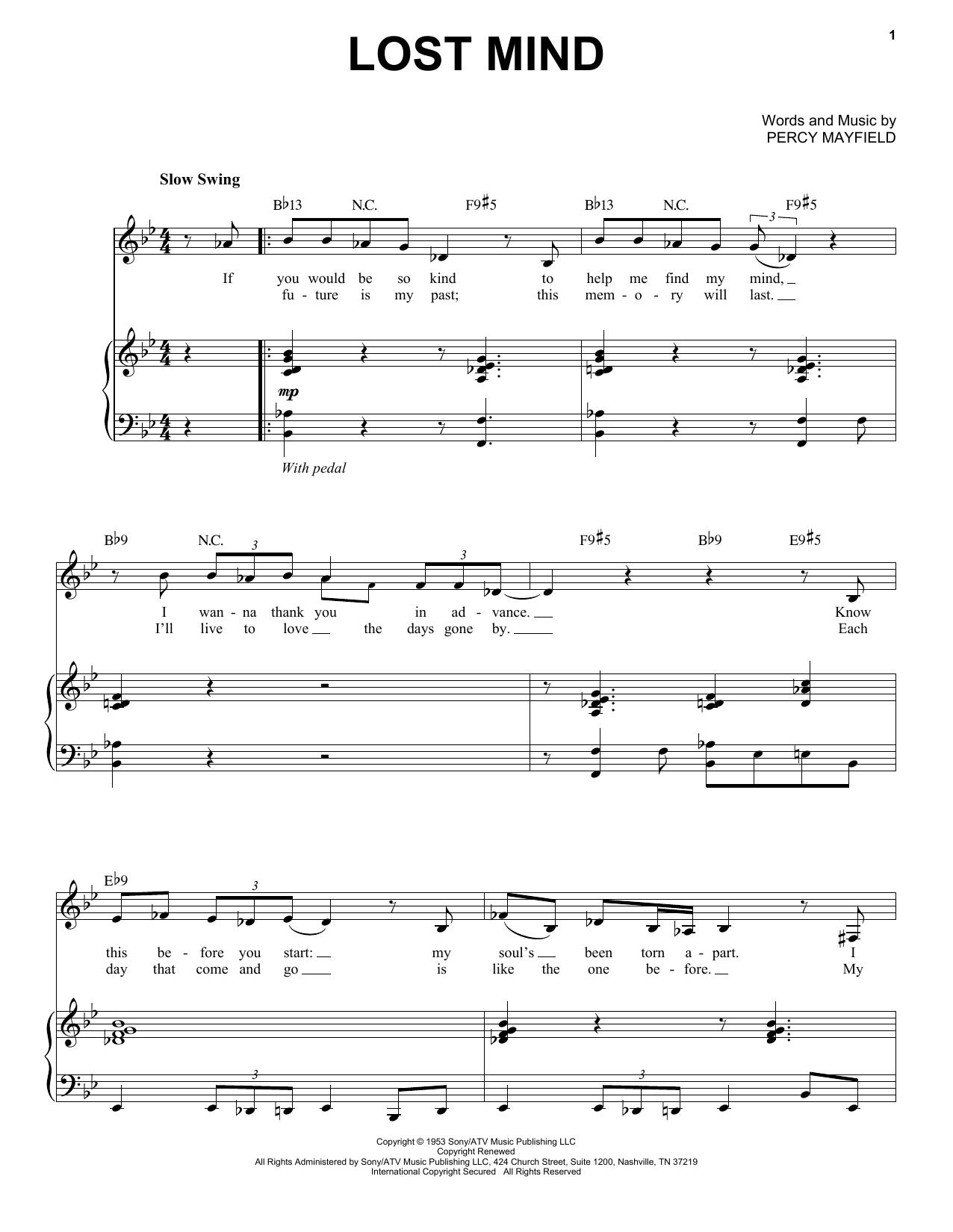 Partition piano Lost Mind de Mose Allison - Piano Voix