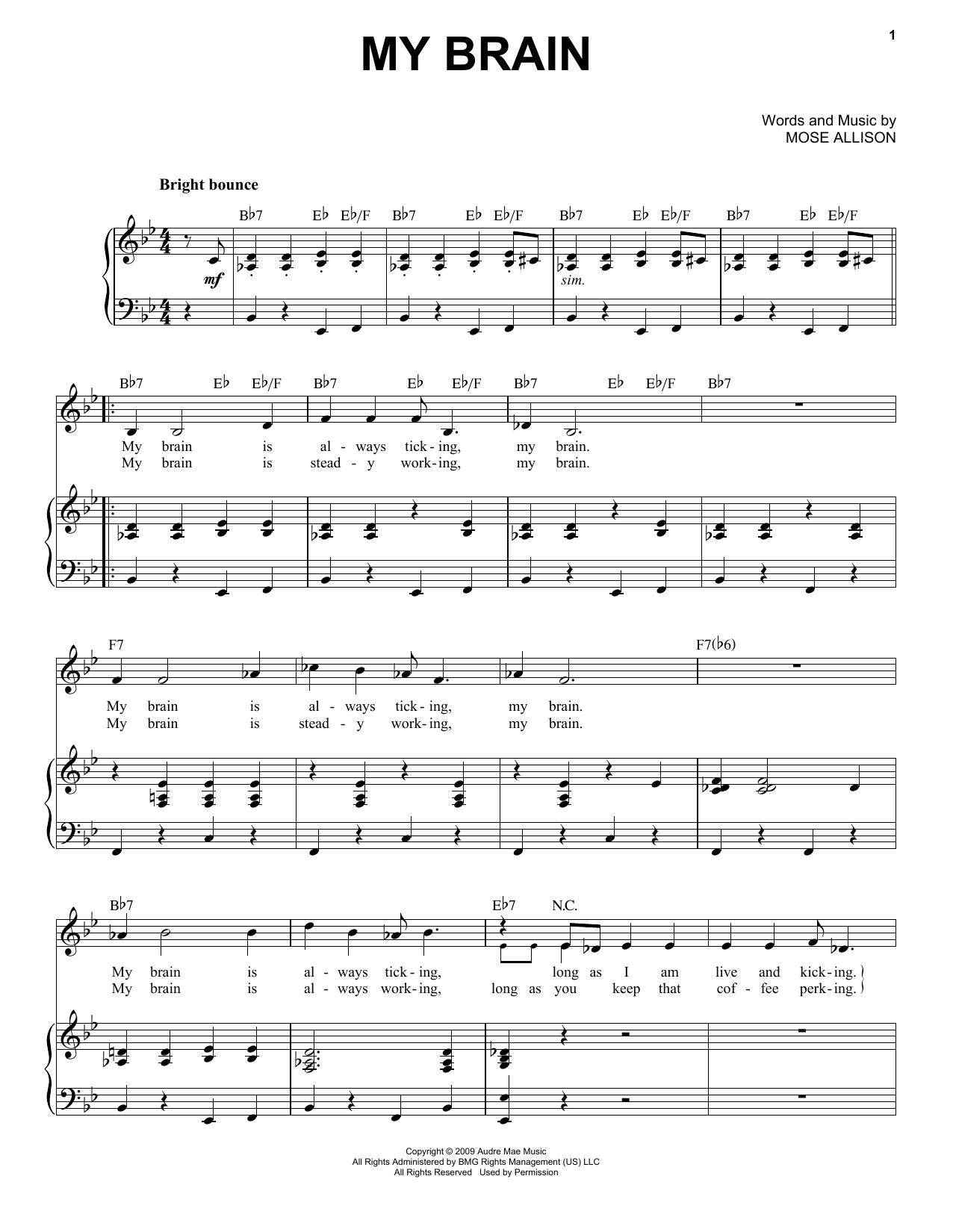 Partition piano My Brain de Mose Allison - Piano Voix