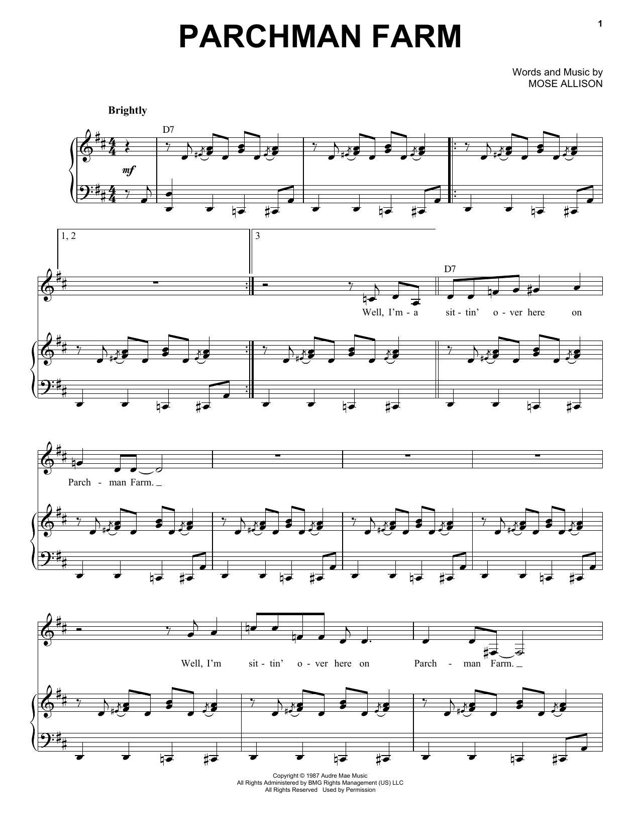 Partition piano Parchman Farm de Mose Allison - Piano Voix