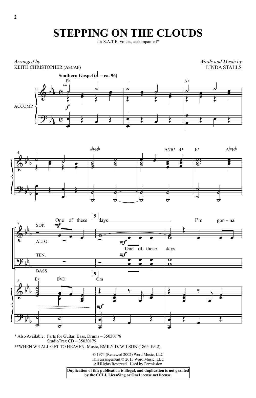 Partition chorale Stepping On The Clouds (arr. Keith Christopher) de Linda Stalls - SATB